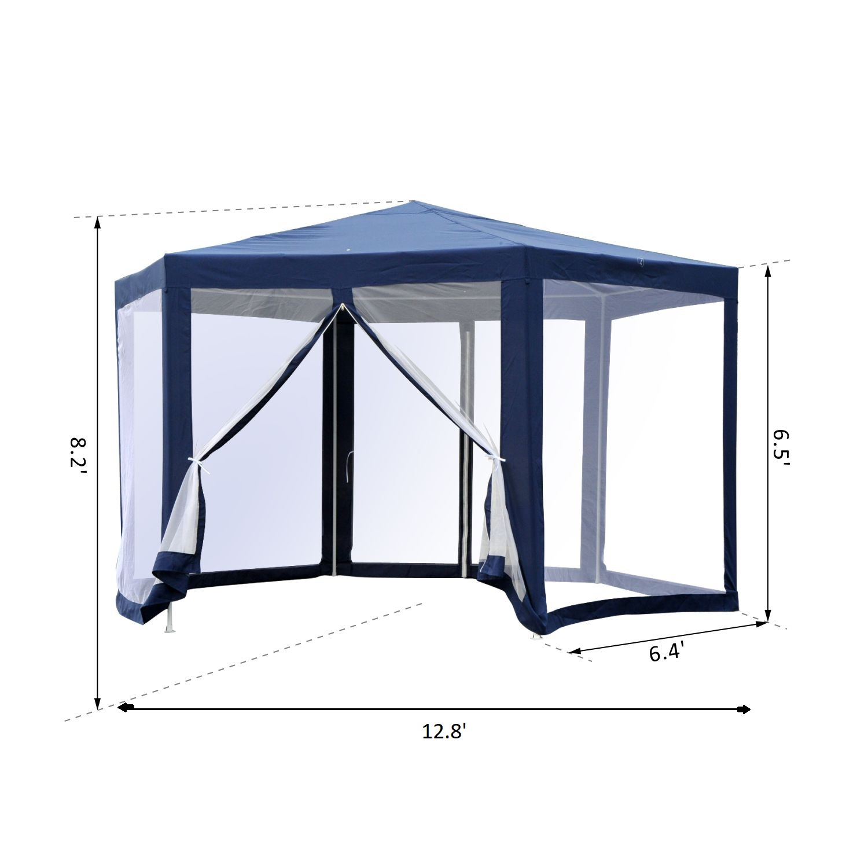 Hexagonal-Patio-Gazebo-Outdoor-Canopy-Party-Tent-Activity-Event-w-Mosquito-Net thumbnail 14
