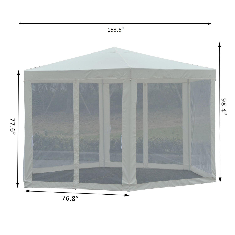 Hexagonal-Patio-Gazebo-Outdoor-Canopy-Party-Tent-Activity-Event-w-Mosquito-Net thumbnail 3
