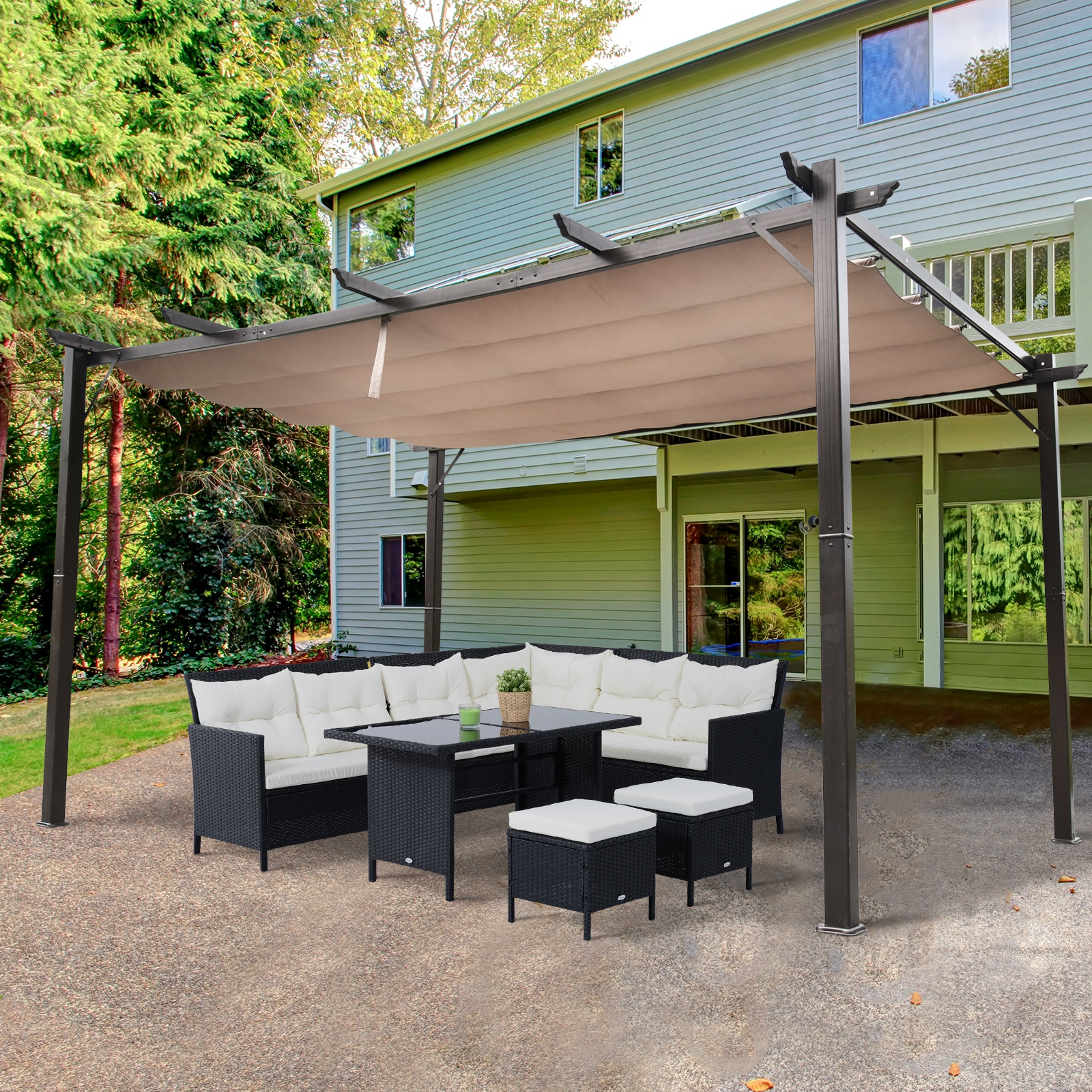 Gardens High Density Polyethylene Deck Ultra-High Shade Grade Sunshade Panel Porch Screen for Patio Joyeyou 90/% Shade Cloth 10x10 Beige Pergola Cover 10FT x 10FT, Beige Outdoor