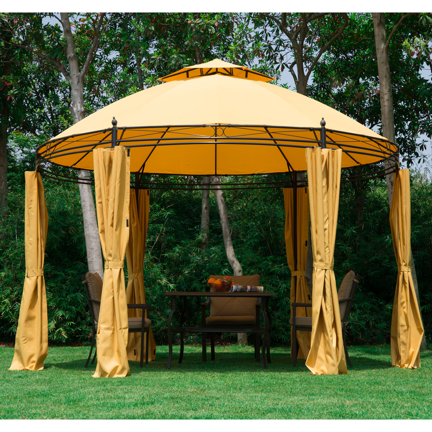 the best attitude d7fd4 e5649 Details about 11.5' Round Dome Patio Gazebo Outdoor Sun Shelter Canopy Tent  Metal Garden Lawn