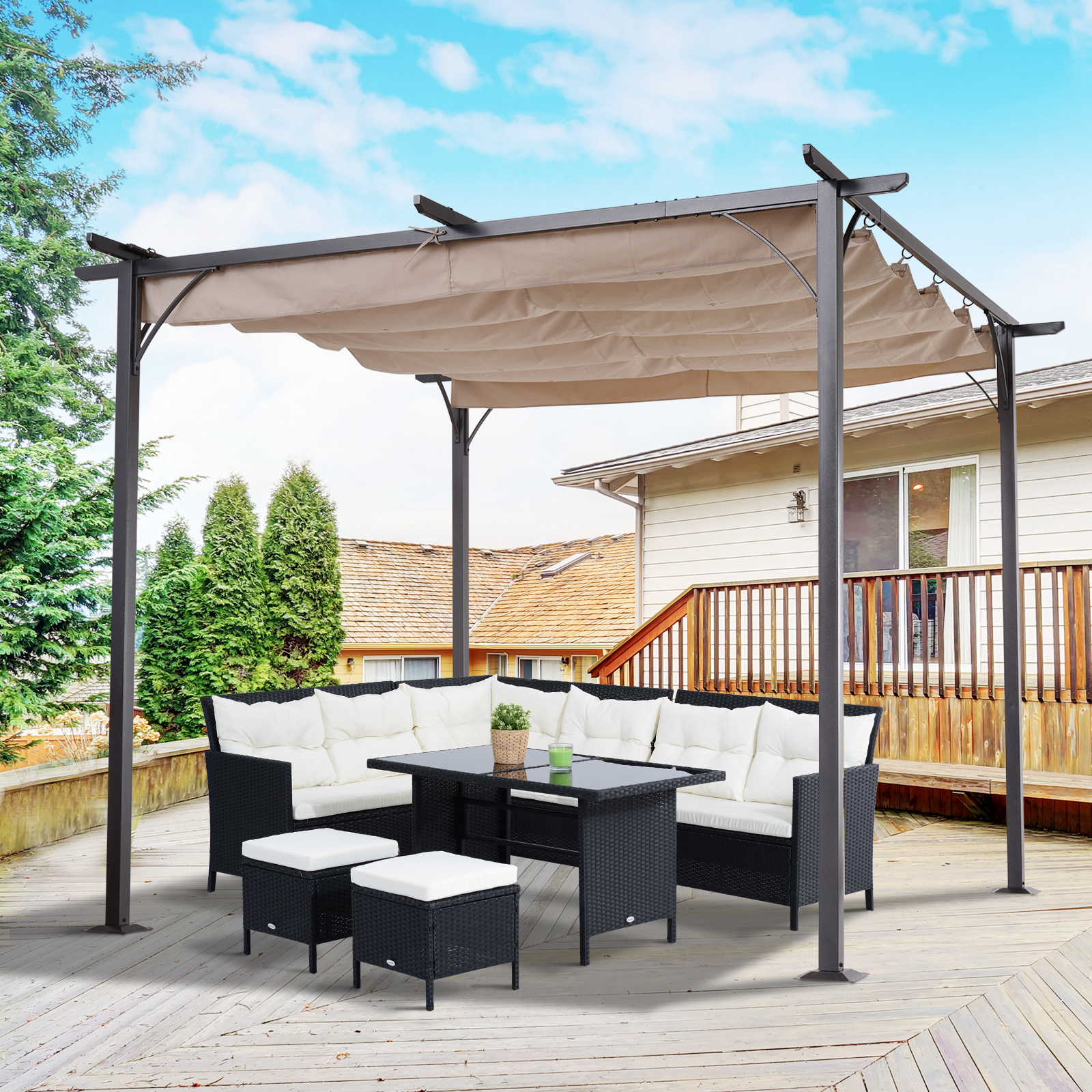 Outsunny 10' Retractable Awning Cover Modern Archway Sun ...