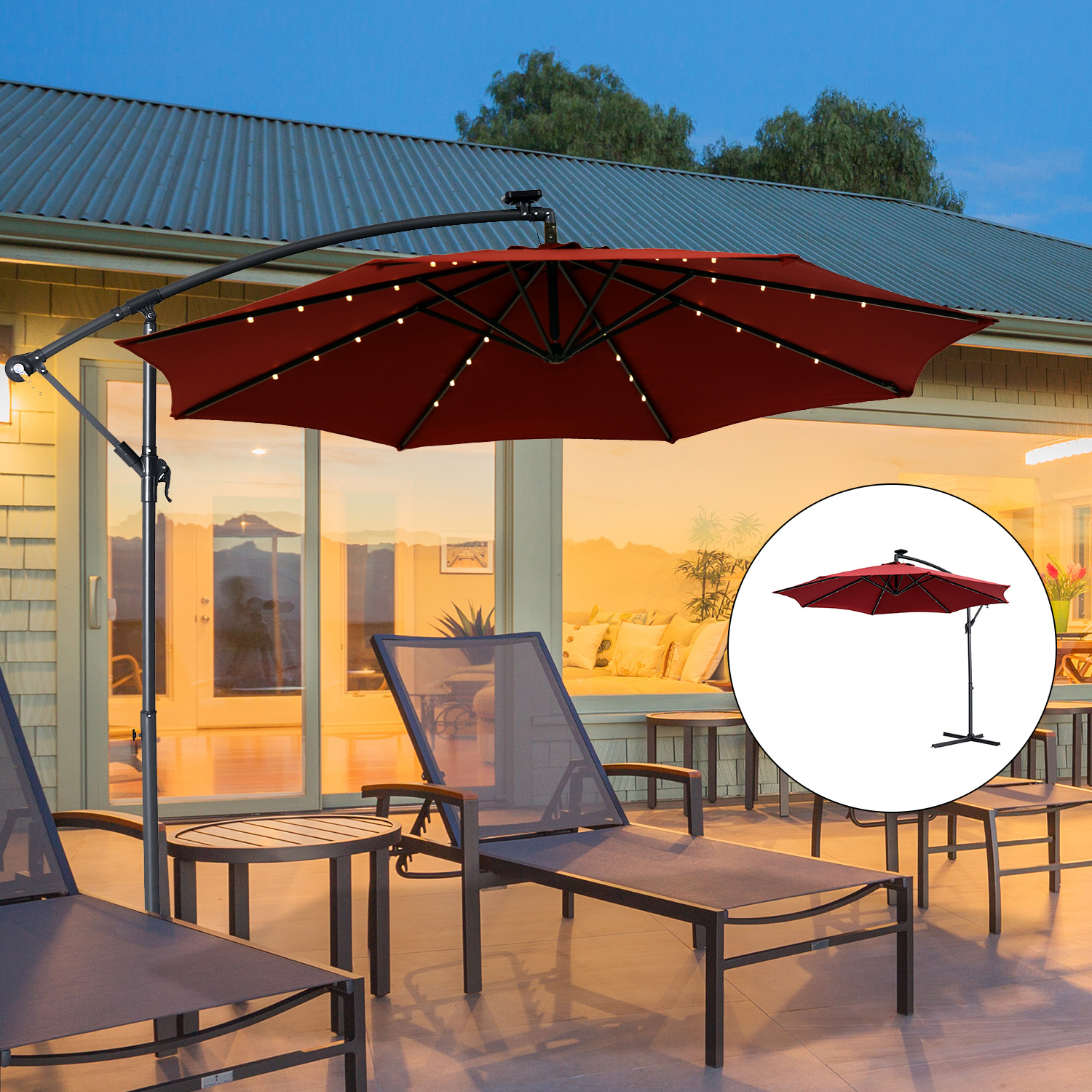 10FT Solar LED Lighted Patio Umbrella Outdoor Offset