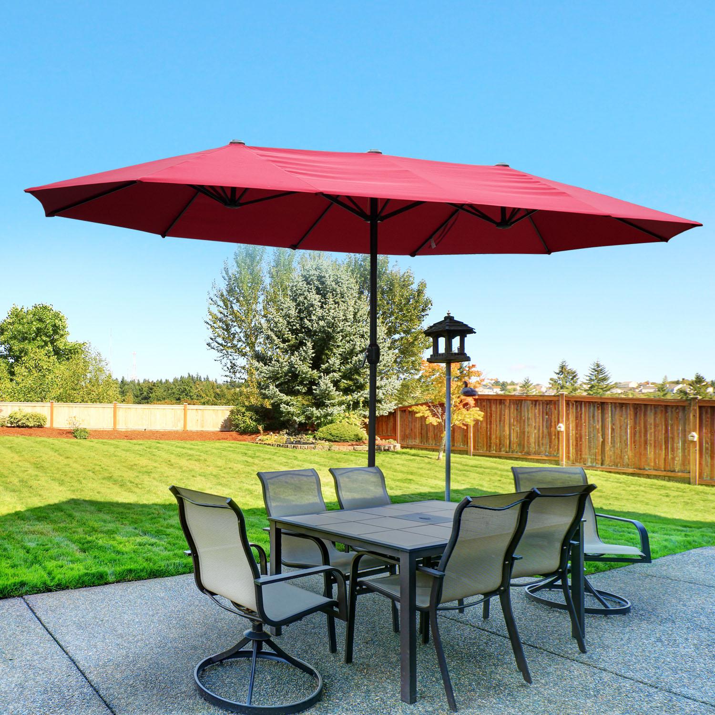 15 39 double sided patio umbrella twin sun canopy market shade outdoor garden ebay. Black Bedroom Furniture Sets. Home Design Ideas