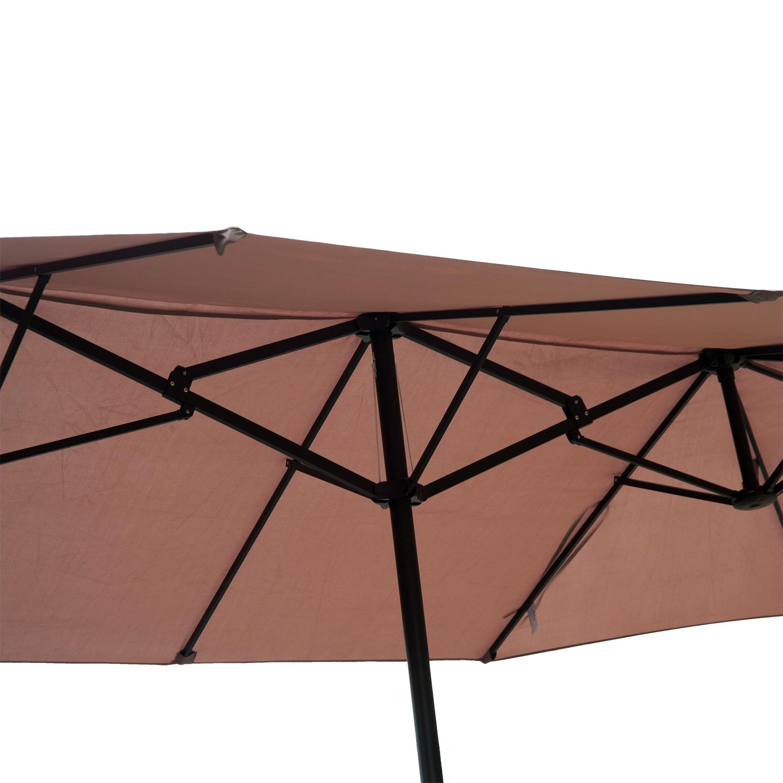 15\' Double-Sided Patio Umbrella Twin Sun Canopy Market Shade Outdoor ...