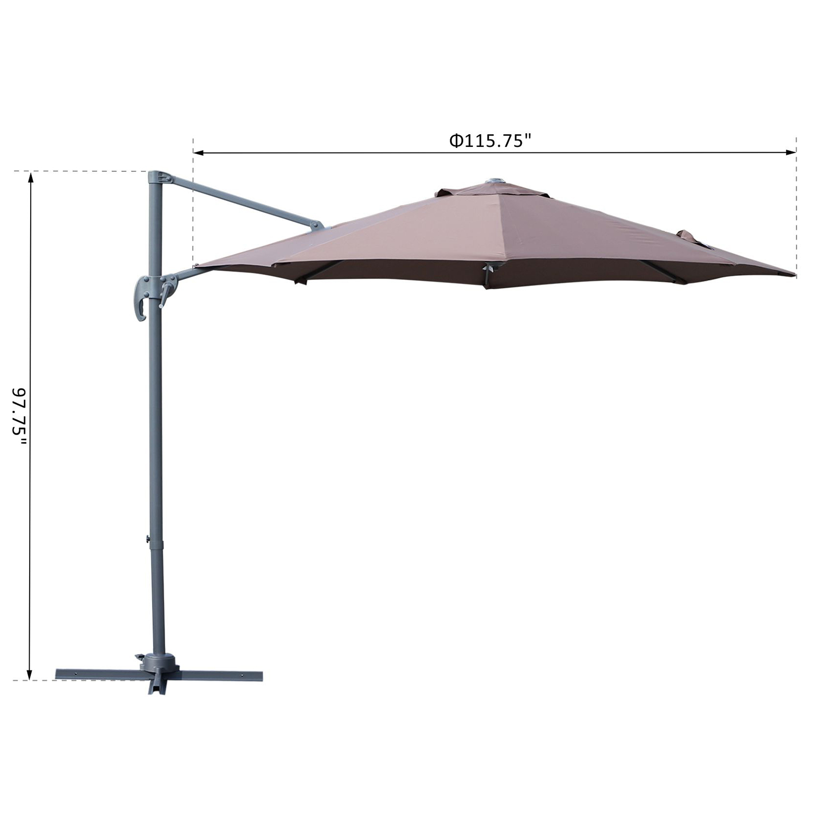 Outsunny 9 5 Cantilever Hanging Tilt Offset Patio Umbrella With