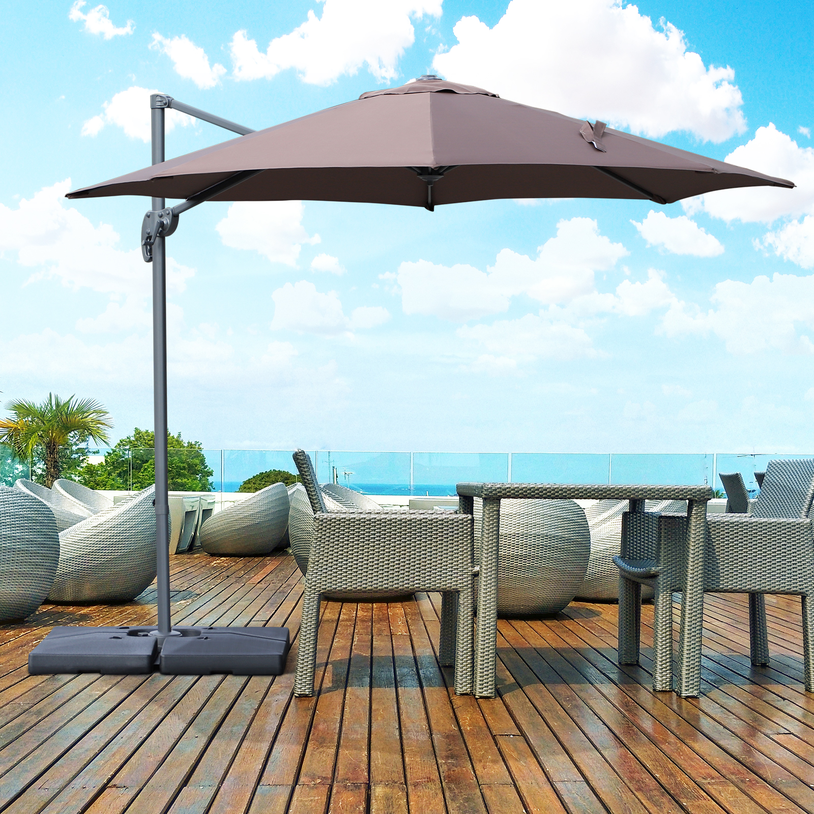 Details About Outsunny 9.5u0027 Cantilever Hanging Tilt Offset Patio Umbrella  W/ Base Stand Coffee