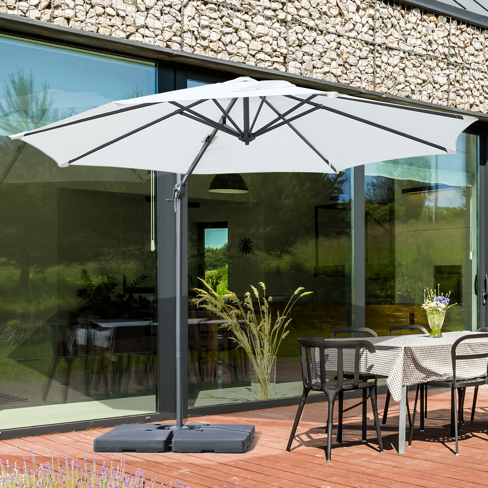 Details about Outsunny 9.5\u0027 Cantilever Hanging Tilt Offset Patio Umbrella w/ Base Stand Cream & Outsunny 9.5\u0027 Cantilever Hanging Tilt Offset Patio Umbrella w/ Base ...