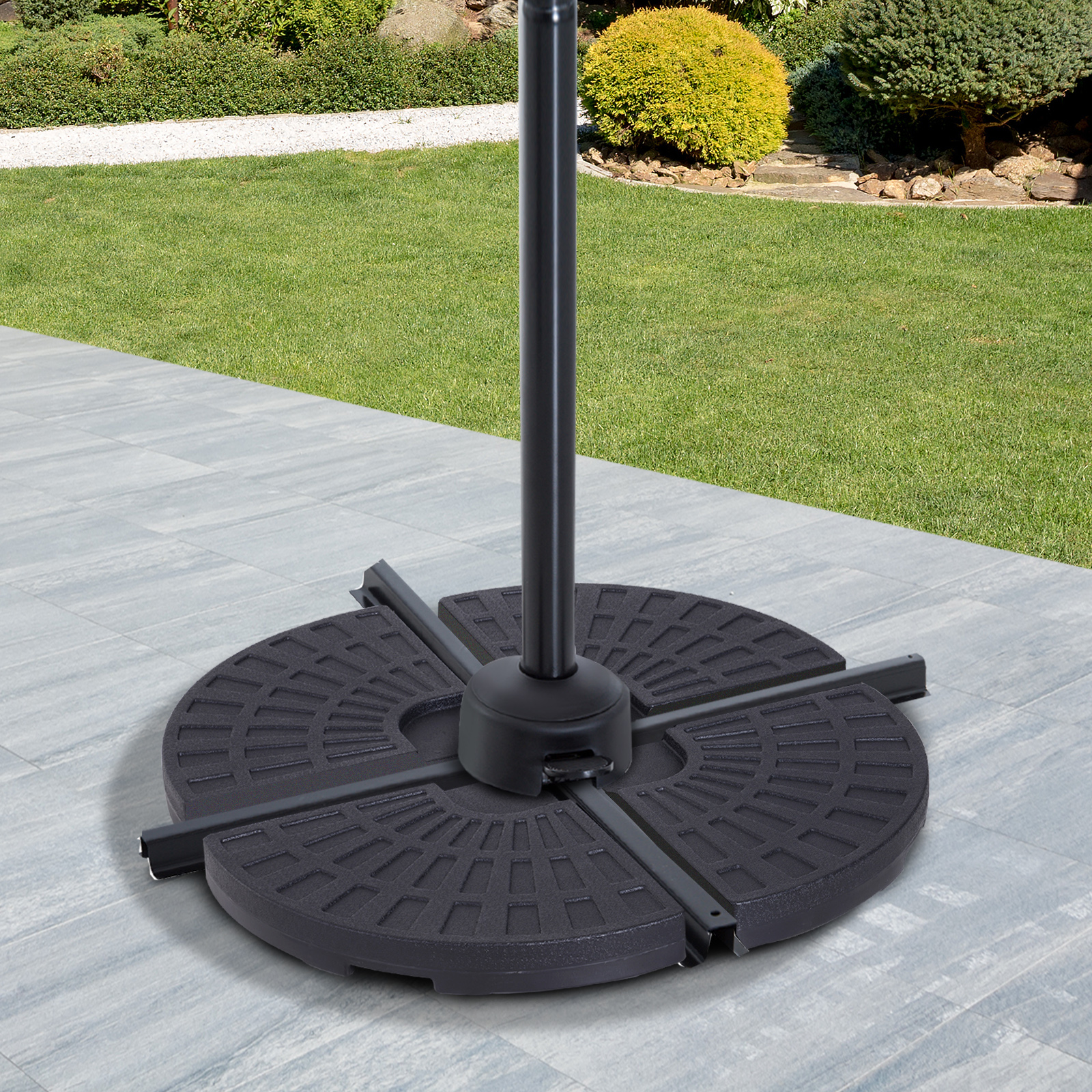 Outsunny Heavy Duty Round 4 Piece Offset Cantilever Umbrella Stand