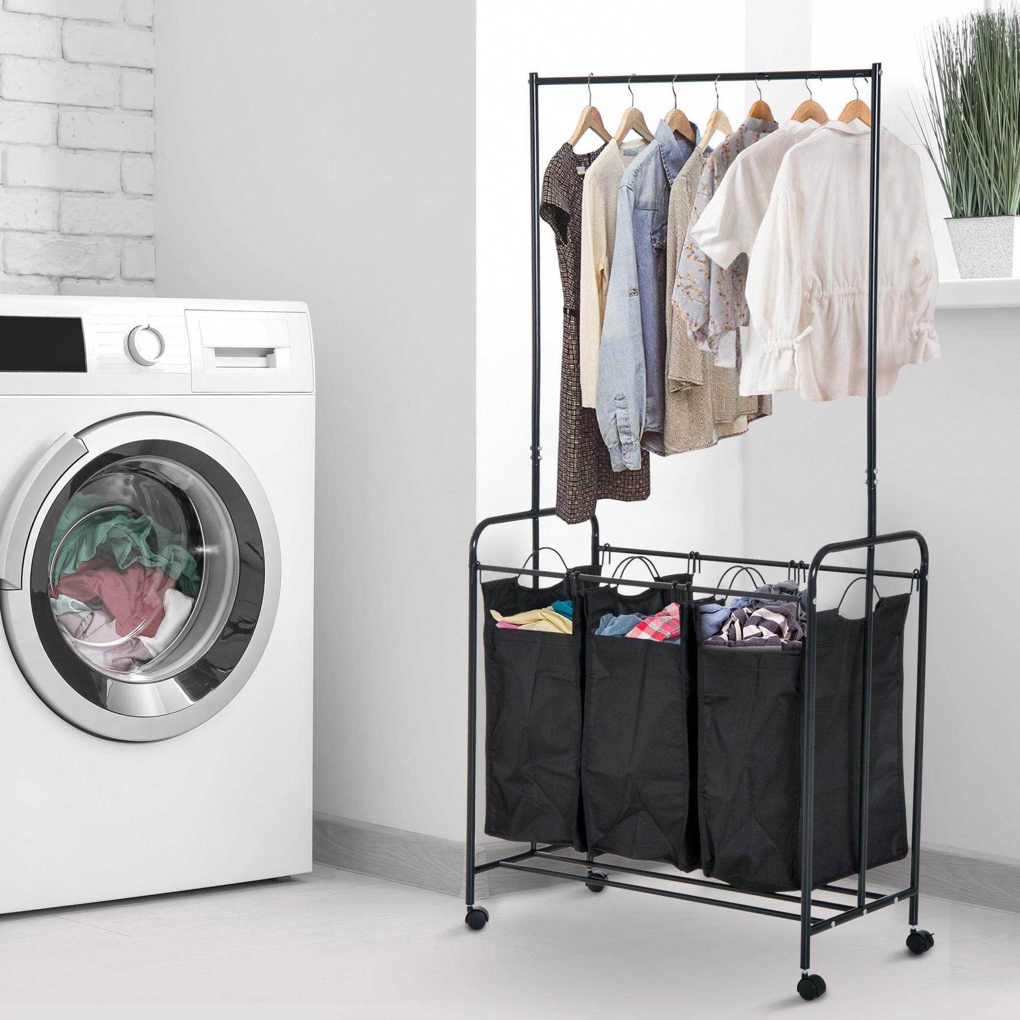 rolling laundry cart with hanging bar hamper sorter 33