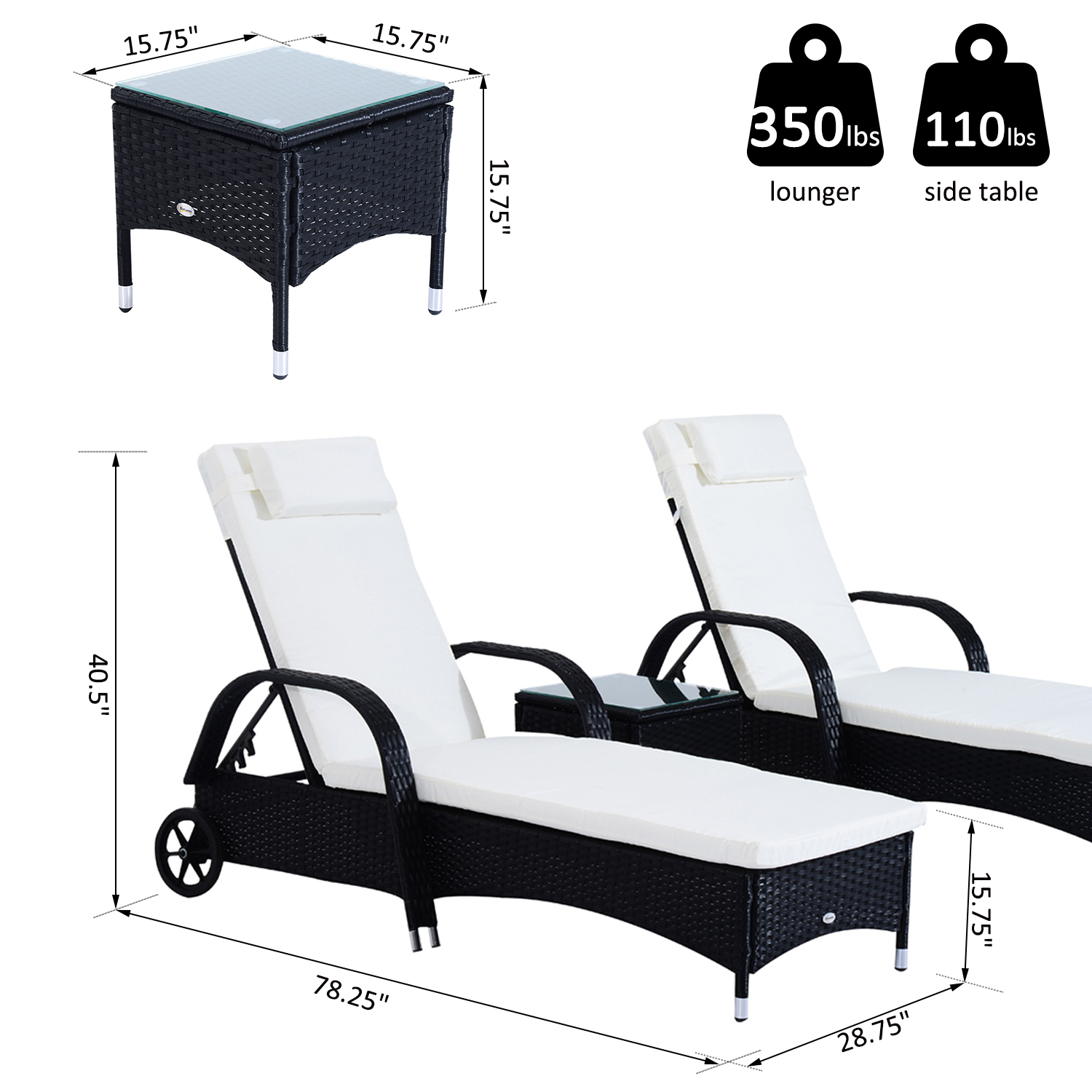3pcs-Wheeled-Patio-Rattan-Lounge-Set-Adjustable-Reclining-Chaise-w-Side-Table thumbnail 3