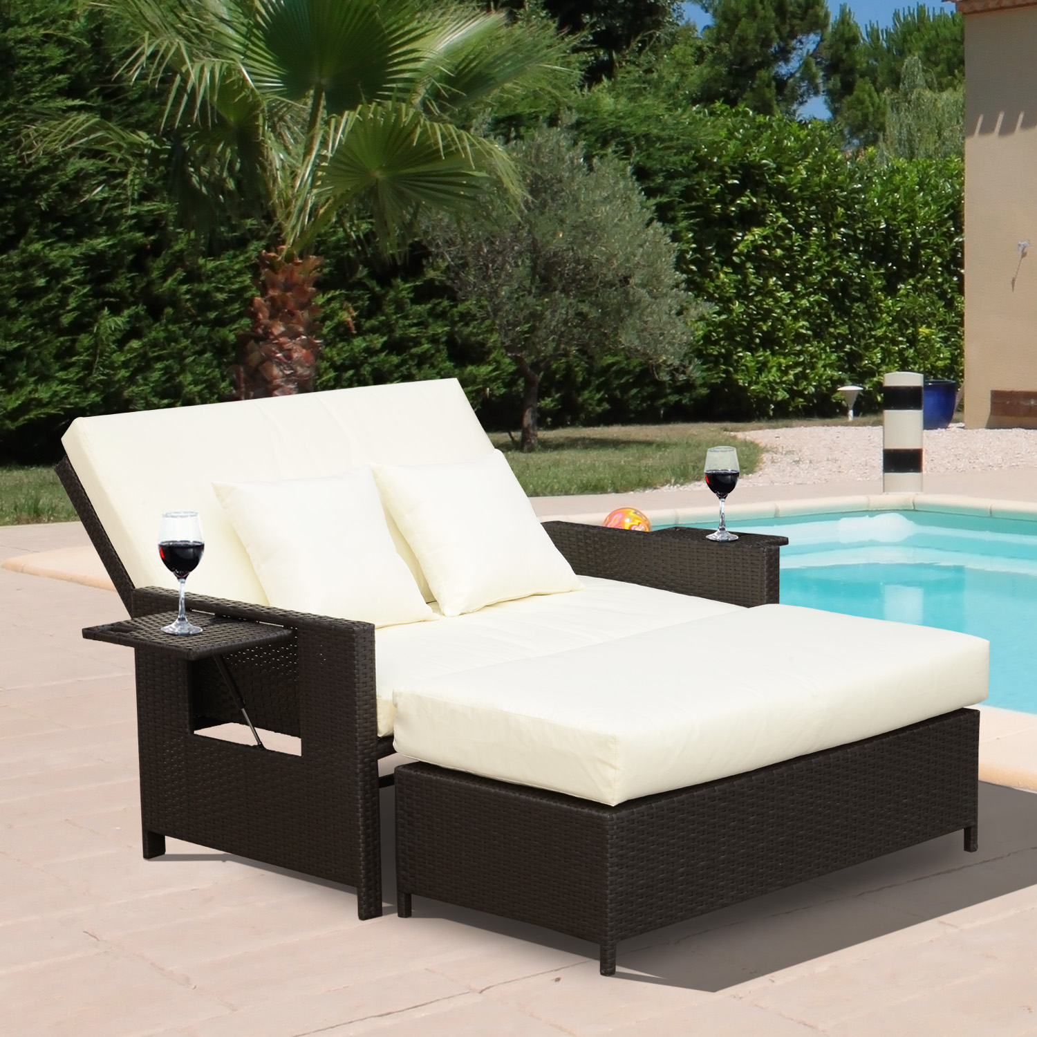2pc Outdoor Rattan Wicker Chaise Lounge and Ottoman Set Double Seat Bench Chair & 2pc Outdoor Rattan Wicker Chaise Lounge and Ottoman Set Double Seat ...