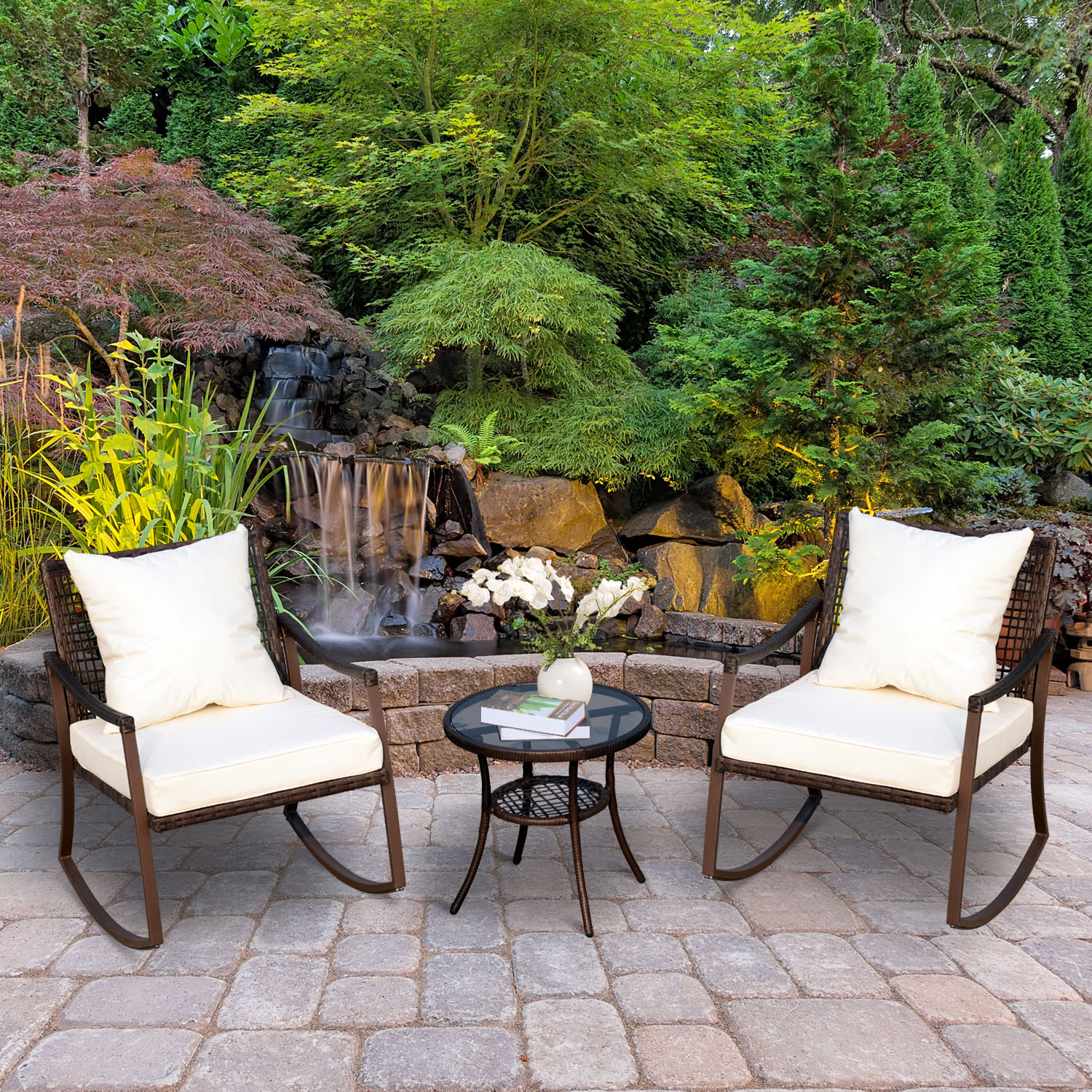 Admirable Details About 3Pc Outdoor Patio Rocking Chair Set Coffee Table Bistro Set Garden Furniture Andrewgaddart Wooden Chair Designs For Living Room Andrewgaddartcom