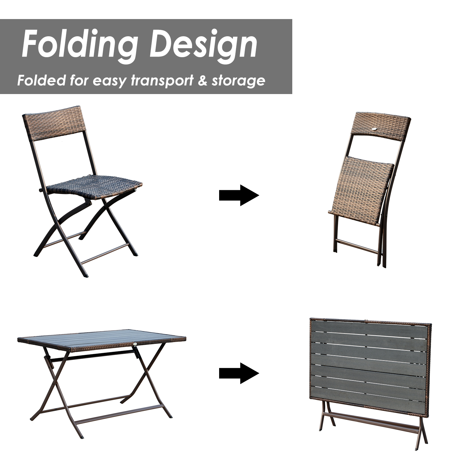 wicker folding chairs. Outsunny 7 Piece Outdoor Rattan Wicker Dining Table And Chairs Set Folding