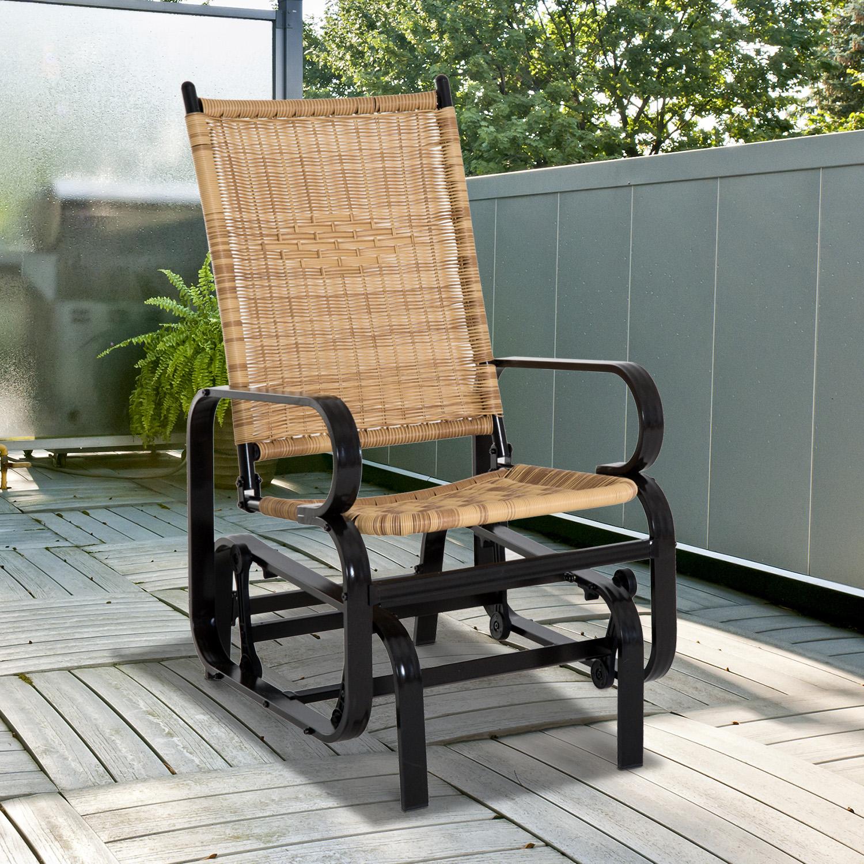 Outsunny Wicker Rattan Rocker Gliding Chair Backyard Glider Garden Outdoor