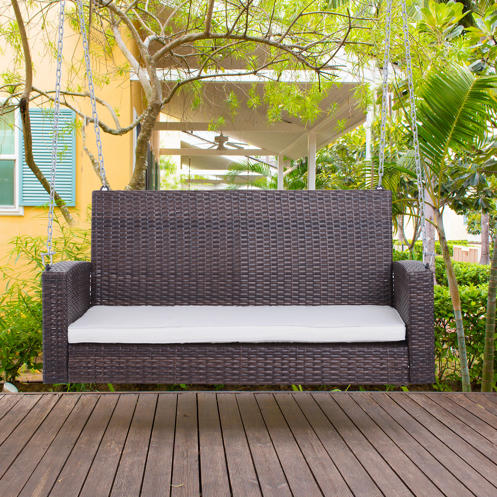 Miraculous Details About 2 Person Outdoor Wicker Porch Swing Chair Garden Hanging Bench Seat Alphanode Cool Chair Designs And Ideas Alphanodeonline
