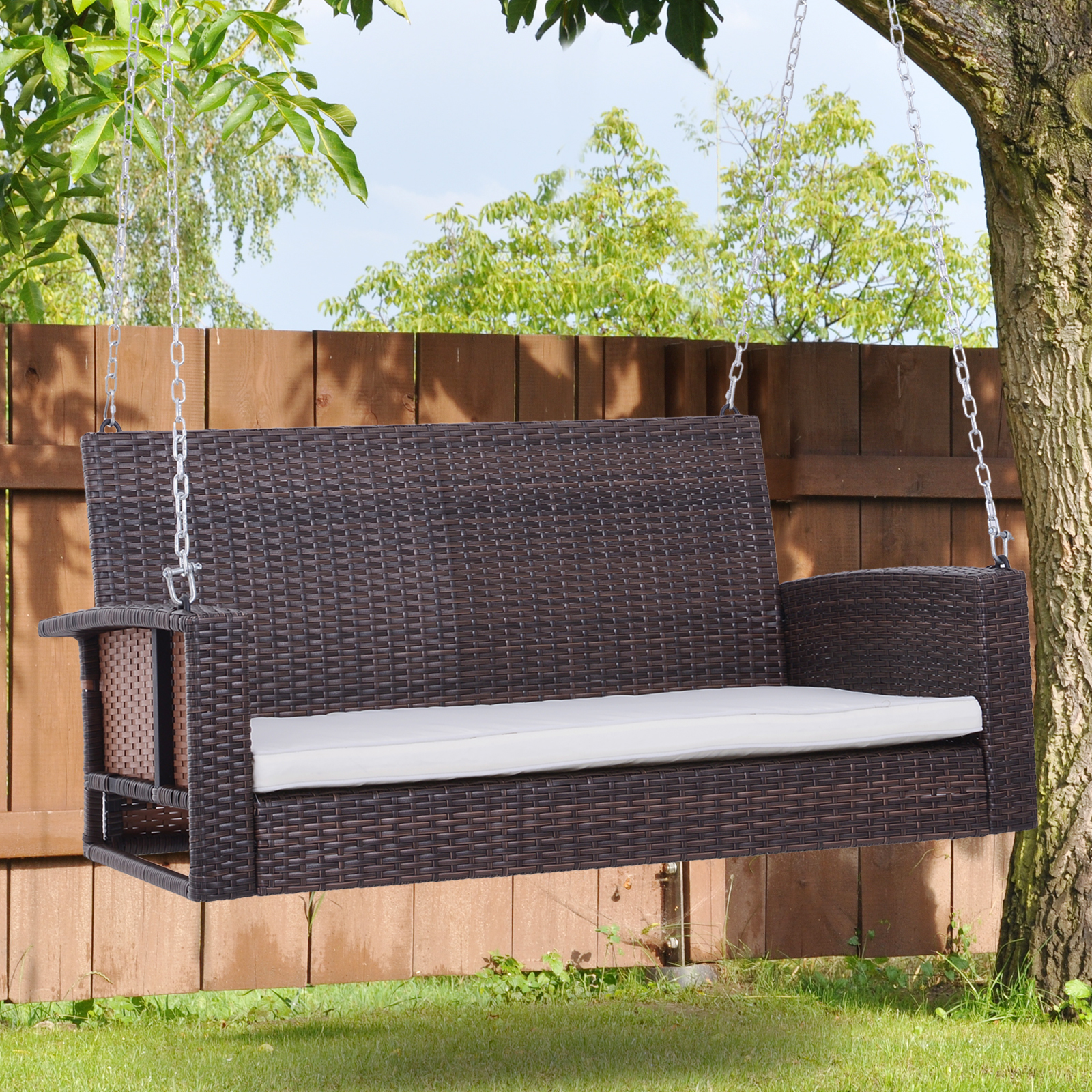 Outsunny 2 Person Outdoor Wicker Porch Swing Chair Garden