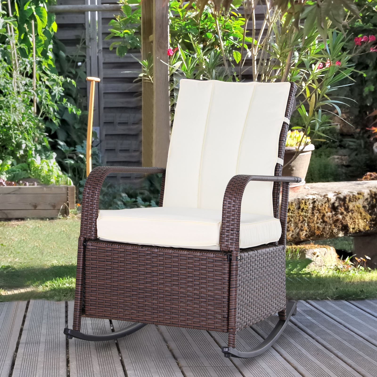 Details about Outsunny Outdoor Wicker Rattan Recline Rocking Cushioned Chair w Footrest White
