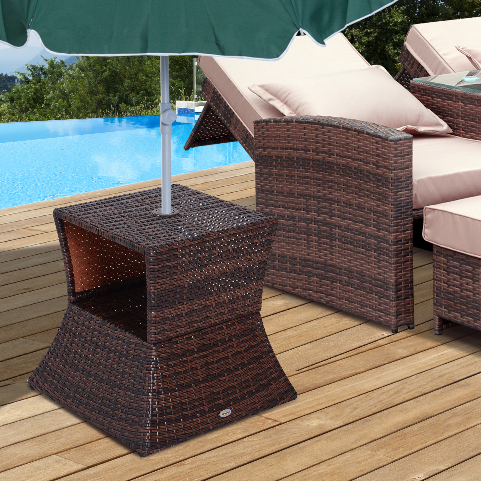 Outdoor Patio Rattan Wicker Coffee Table Bistro Side Table With