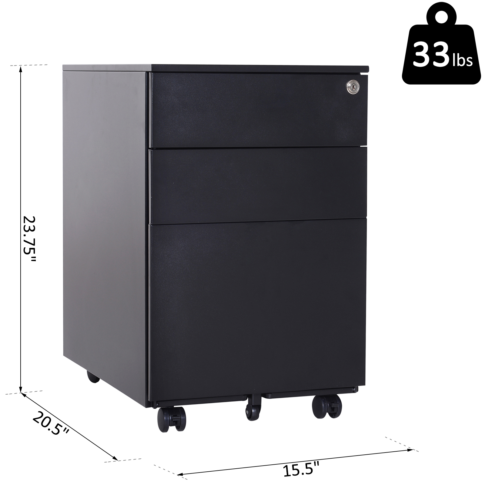 Merveilleux Vinsetto 24u0027 Metal 3 Drawer Locking Under Desk Filing Cabinet On Wheels    Black