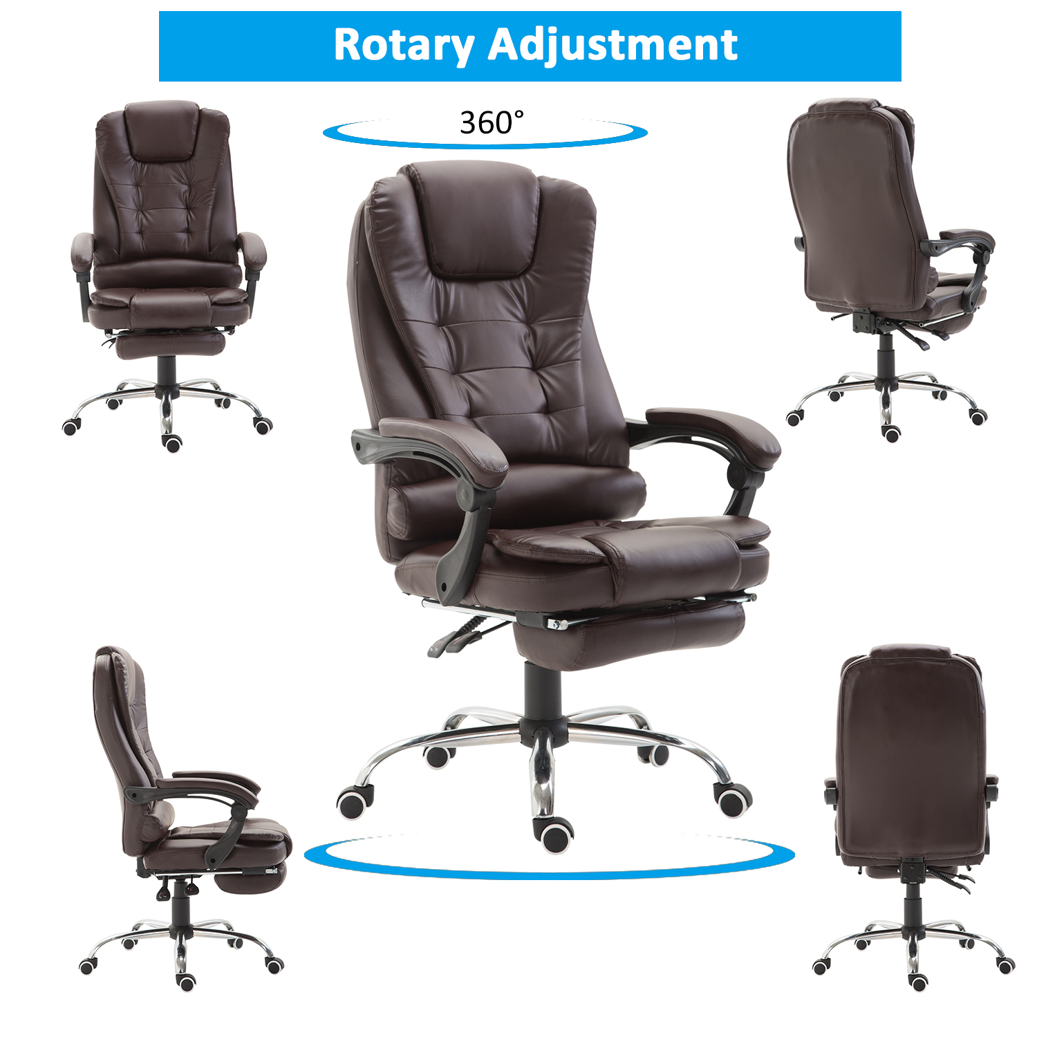 HOMCOM Executive Style Reclining Office Napping Chair PU ...