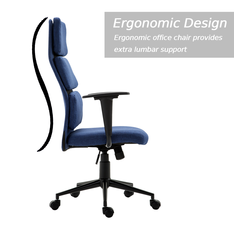 lumbar support desktop computer chair fabric upholstered task seat