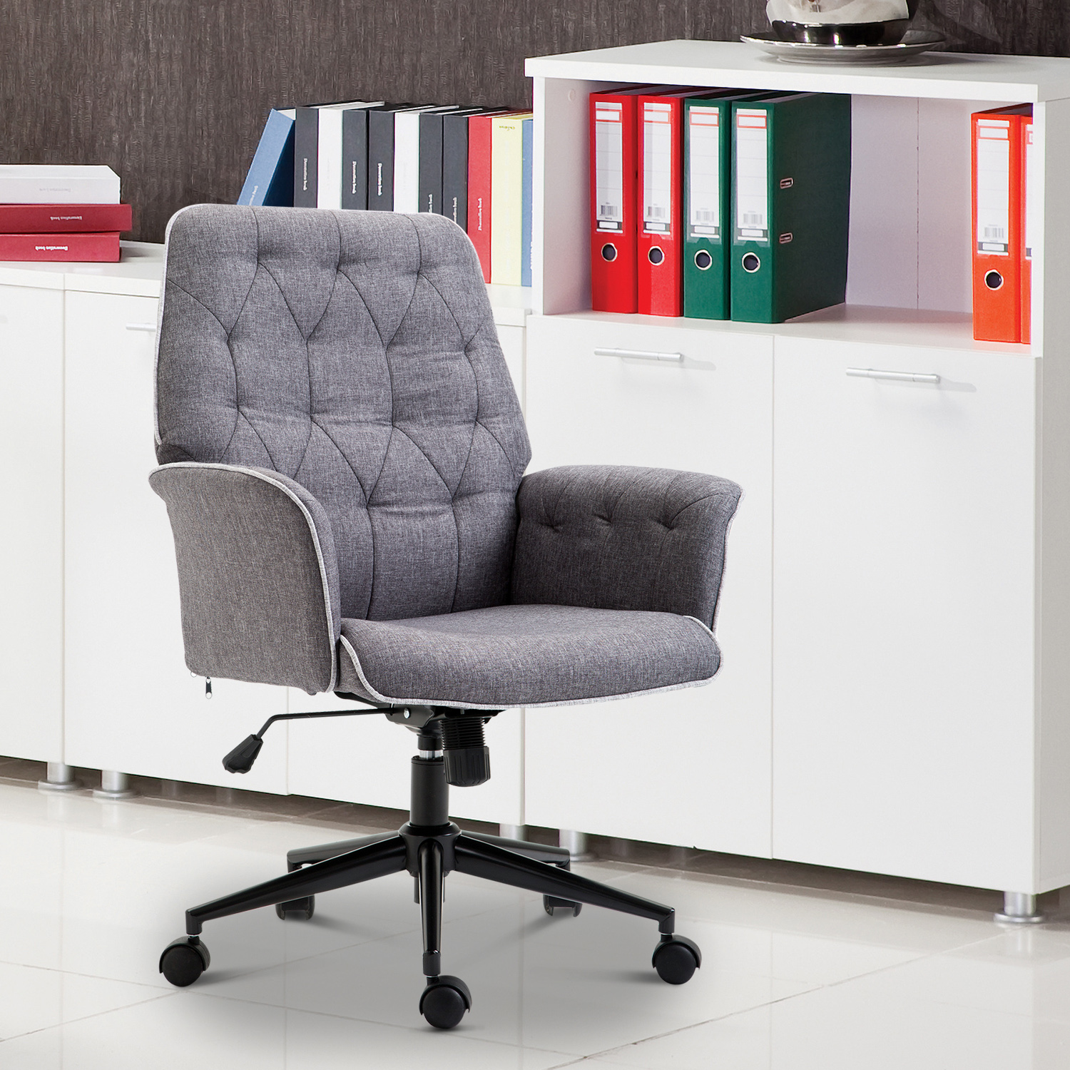 Details About Modern Tufted Home Office Chair Computer Desk Task Seat Swivel Height Adjustable