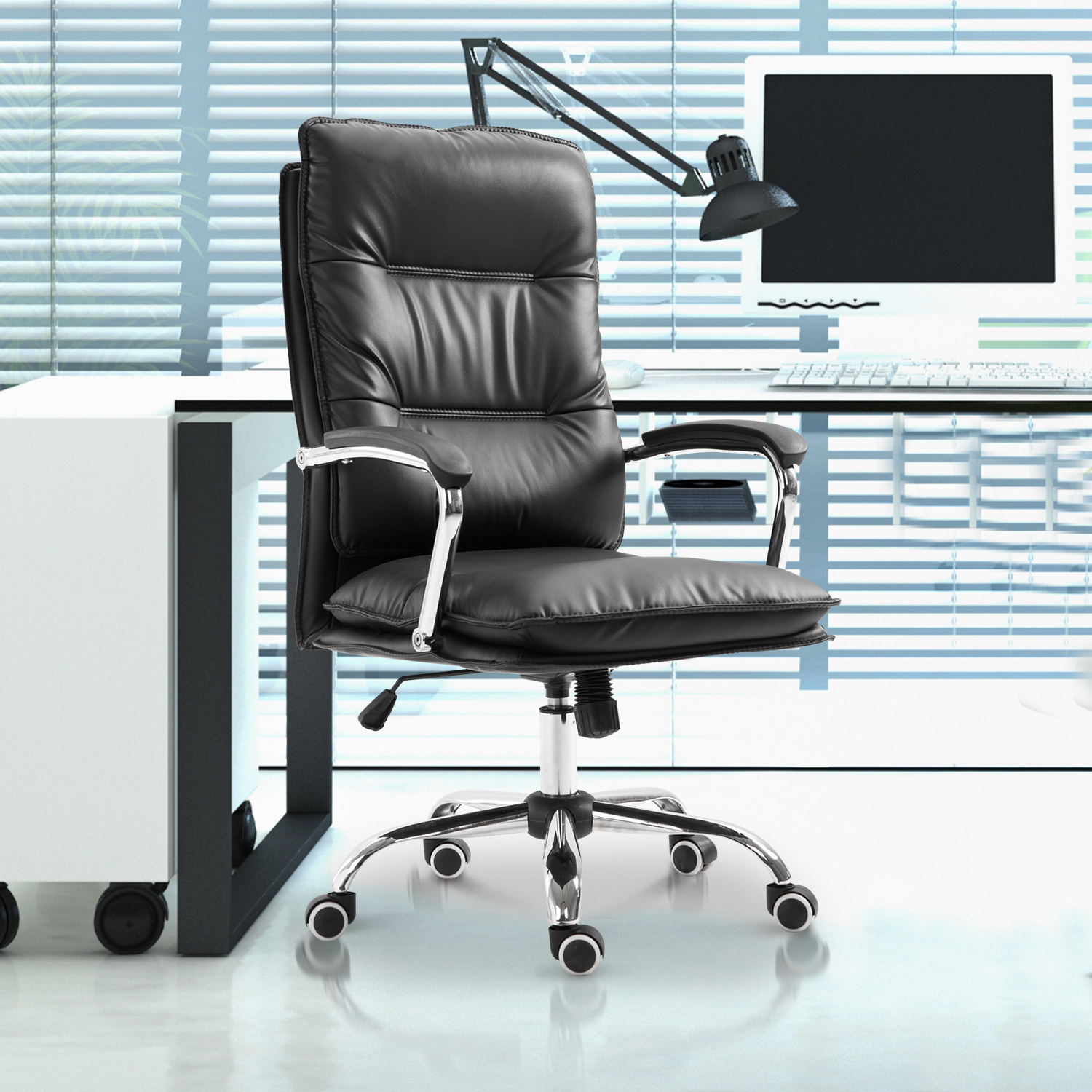 Details about high back executive home office chair computer task seat lumbar support black
