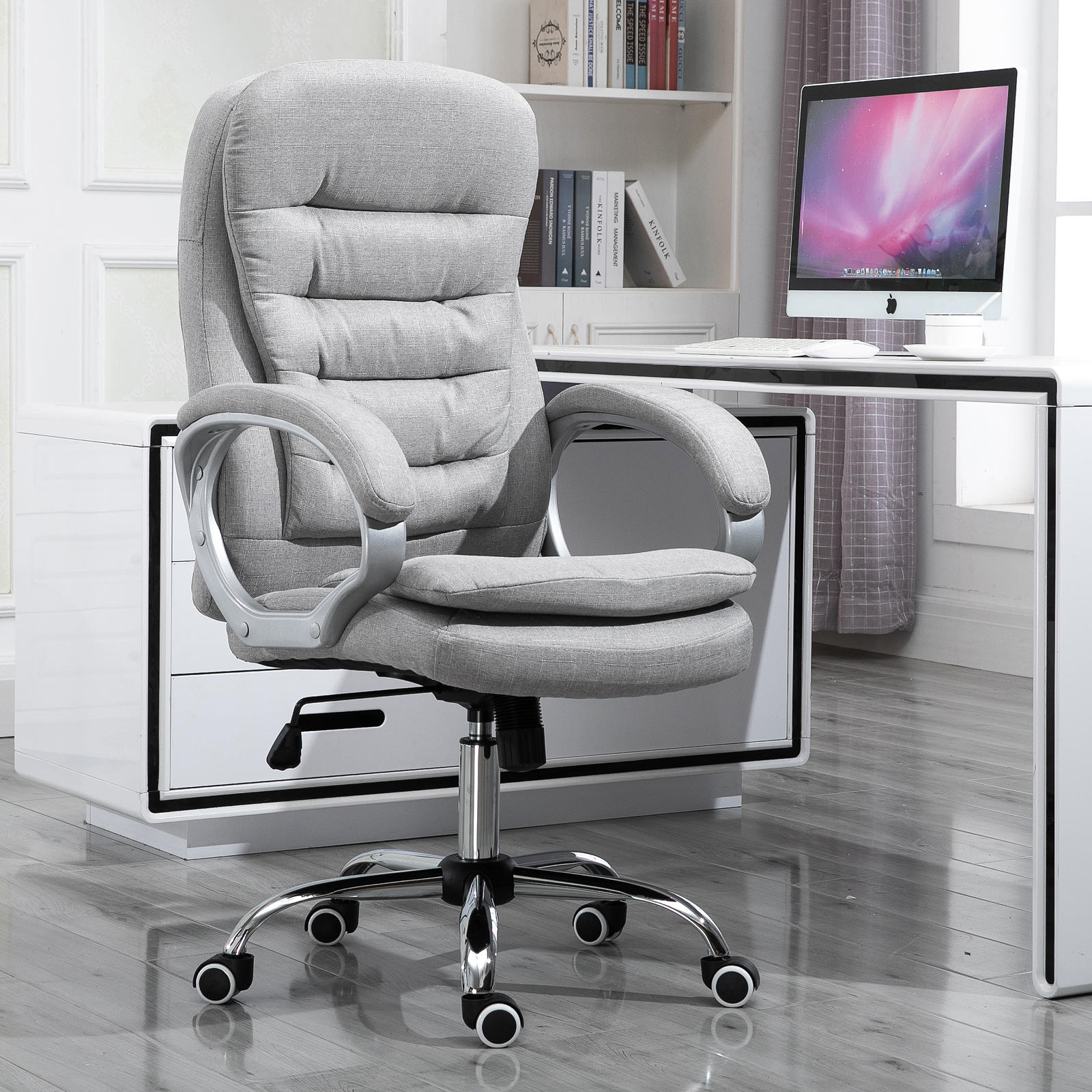Details about Executive Swivel Office Computer Desk Chair with Armrests  Linen Fabric Grey