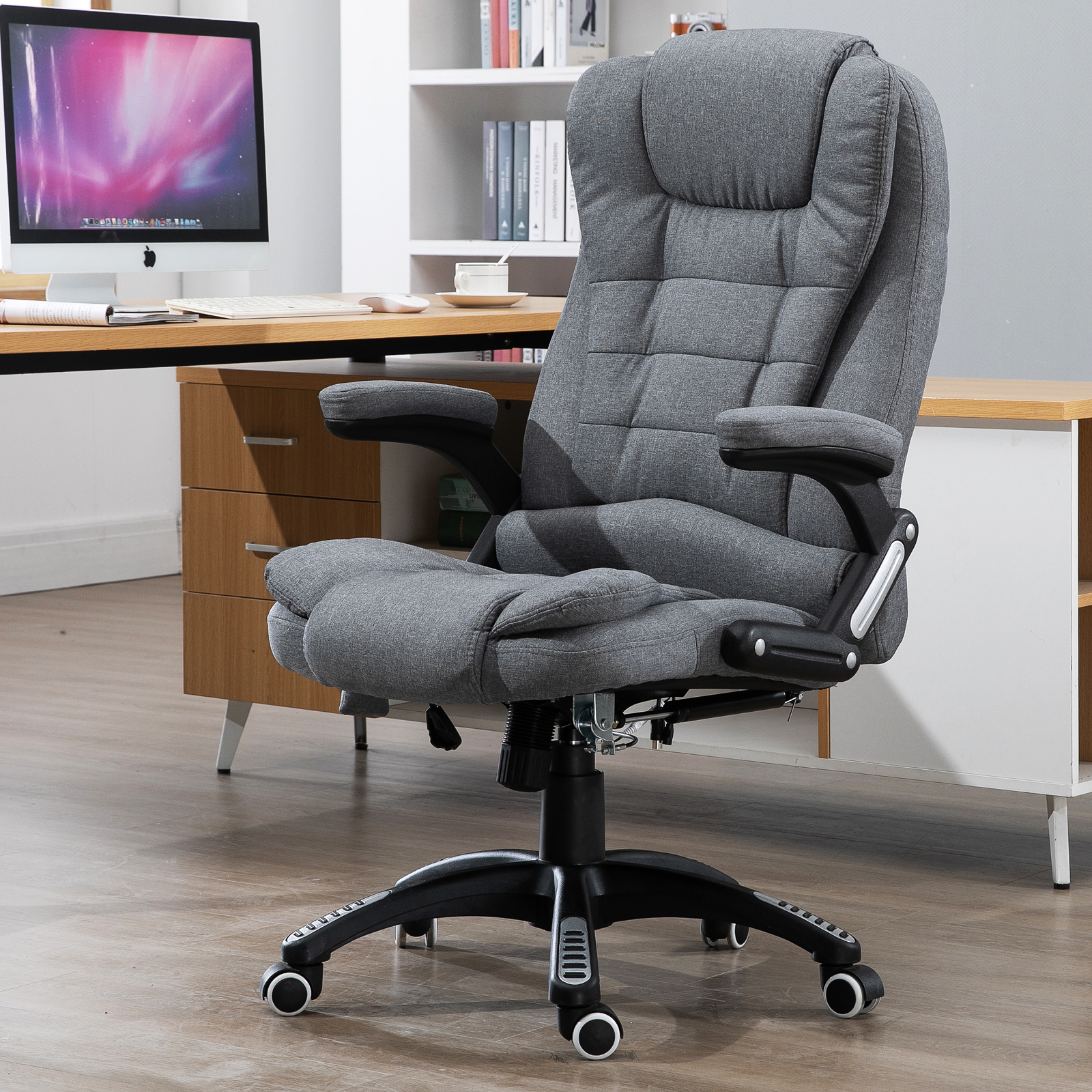 Details about Massaging Reclinable Home Office Computer Desk Chair  Upholstered Dark Grey