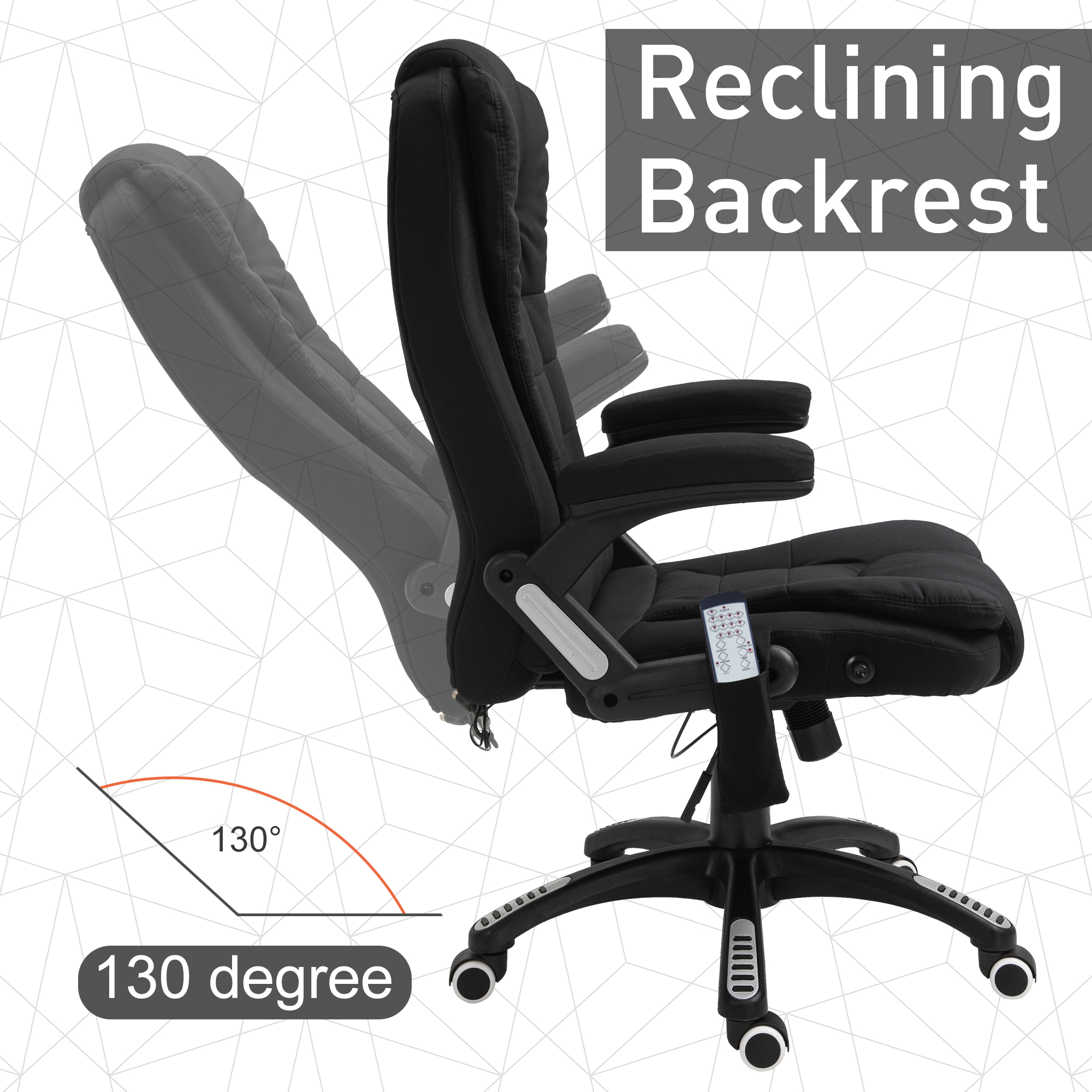 thumbnail 9 - Executive Reclining Chair 130°w/6 Heating Massage Points Relaxing Headrest