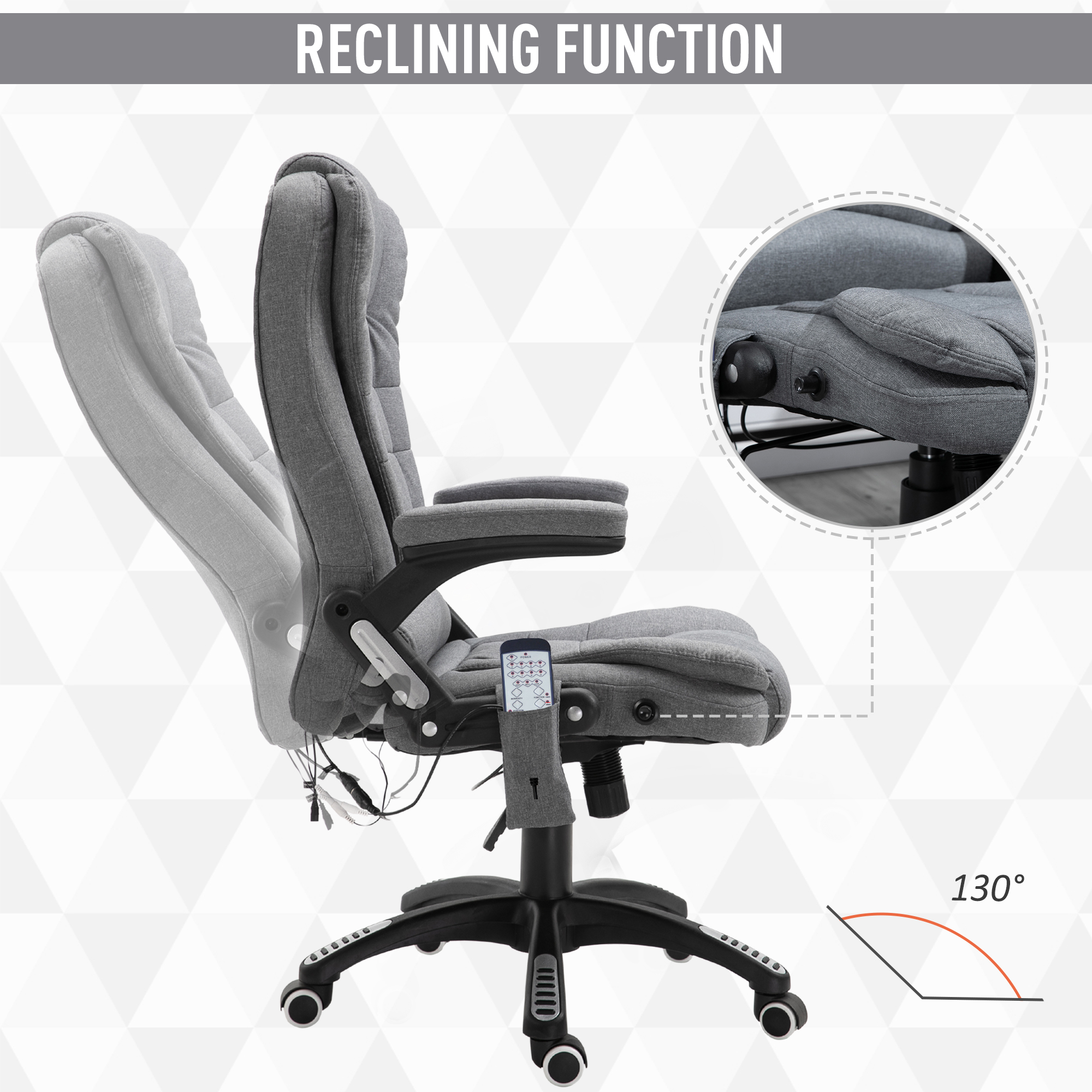 thumbnail 20 - Executive Reclining Chair 130°w/6 Heating Massage Points Relaxing Headrest
