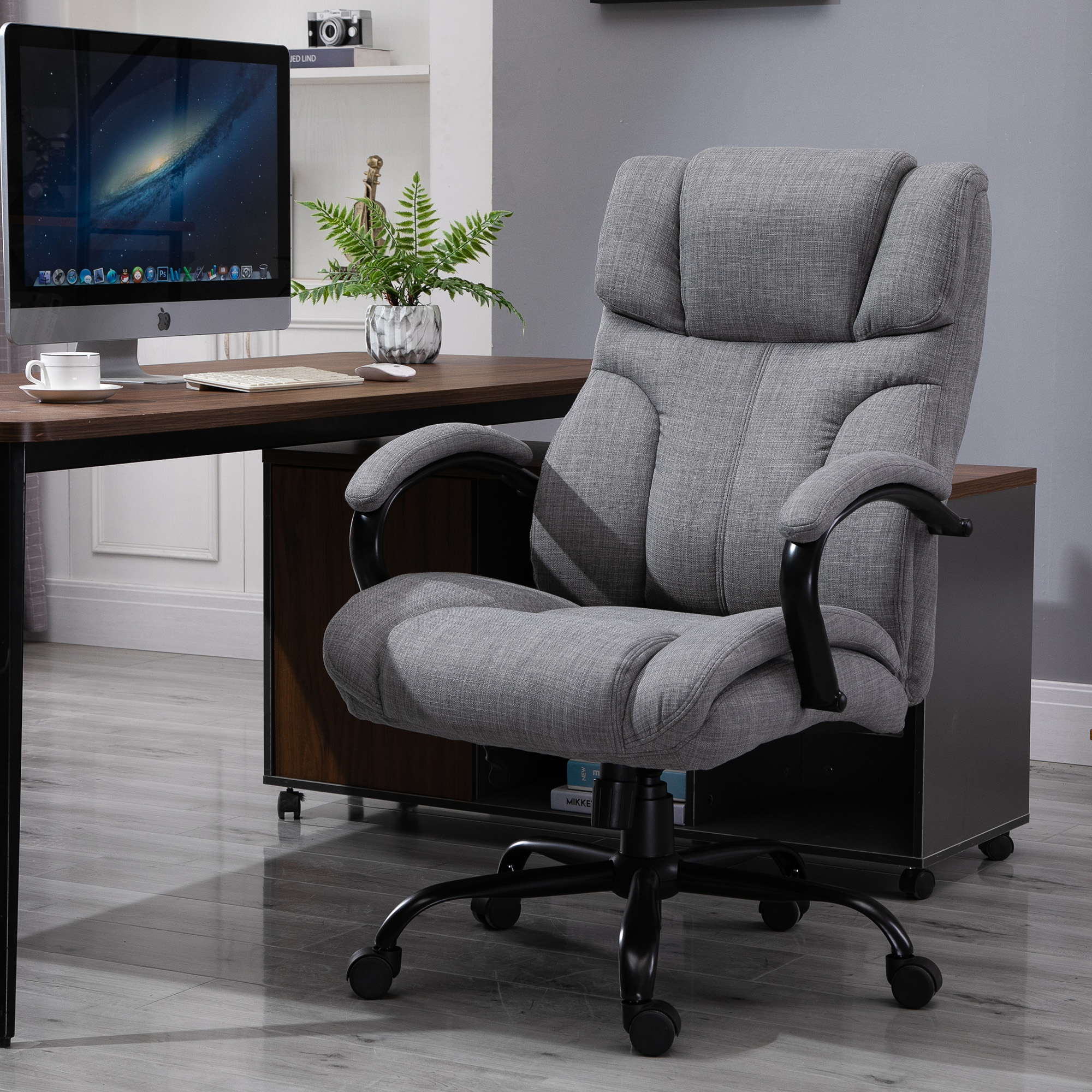 Details about Vinsetto Swivel Big/Tall Office Computer Desk Chair w/ 40  Univeral Wheels