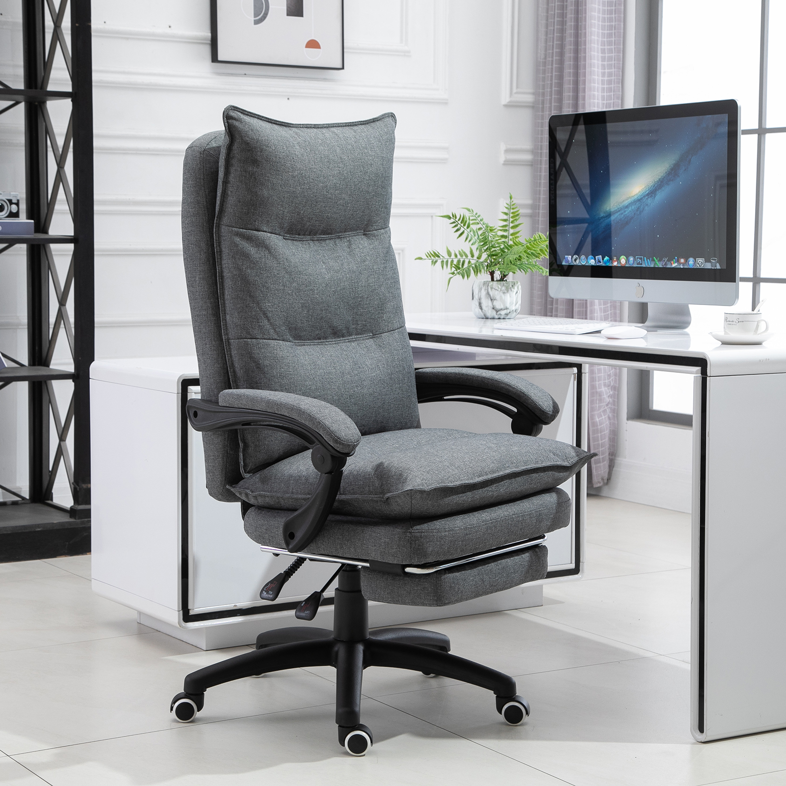 Vinsetto Office Chair Adjust Height Recliner With Footrest Wheel High Back 842525119399 Ebay