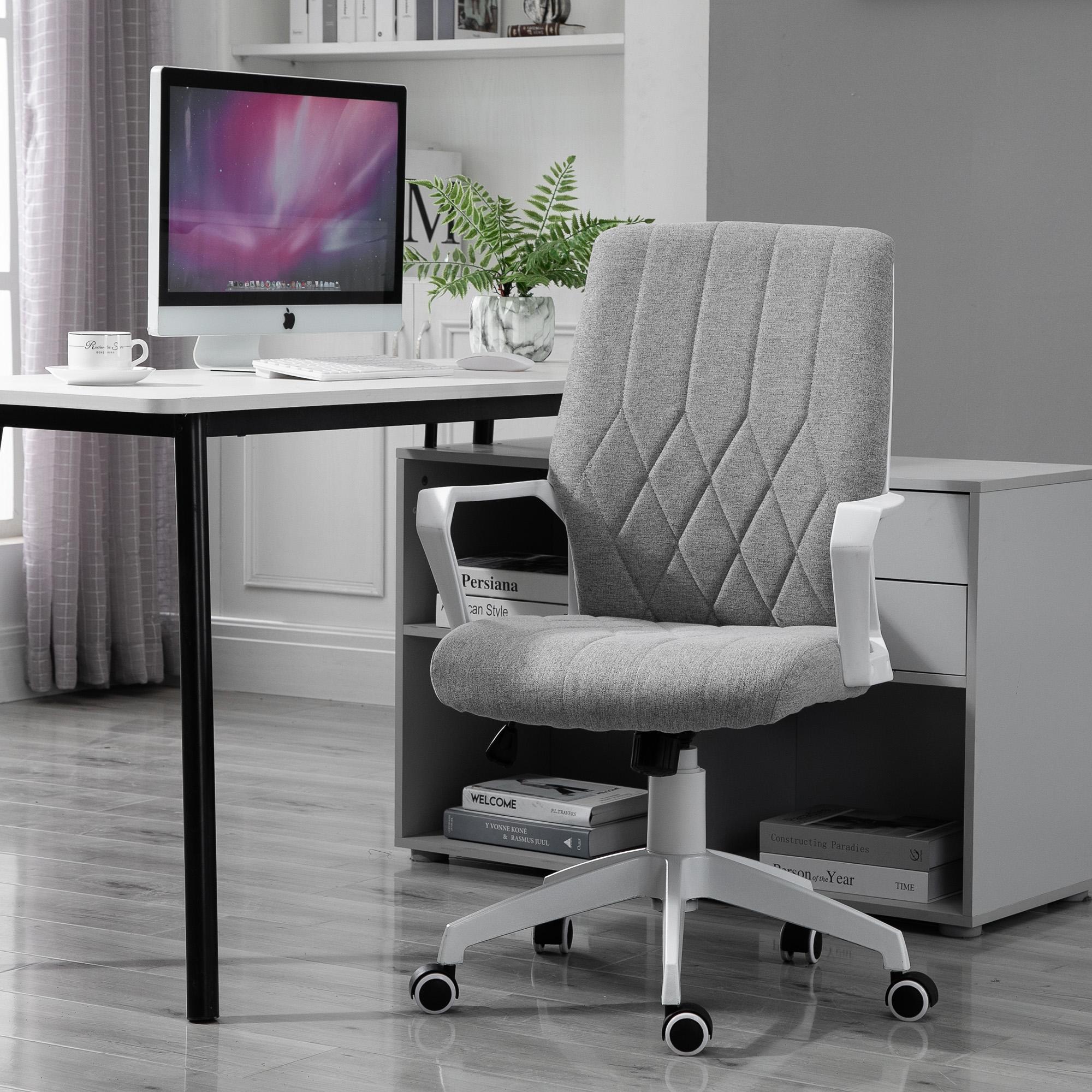 Vinsetto Ergonomic Office Chair With Wheel Fabric Rocker 360 Swivel Home 842525195584 Ebay