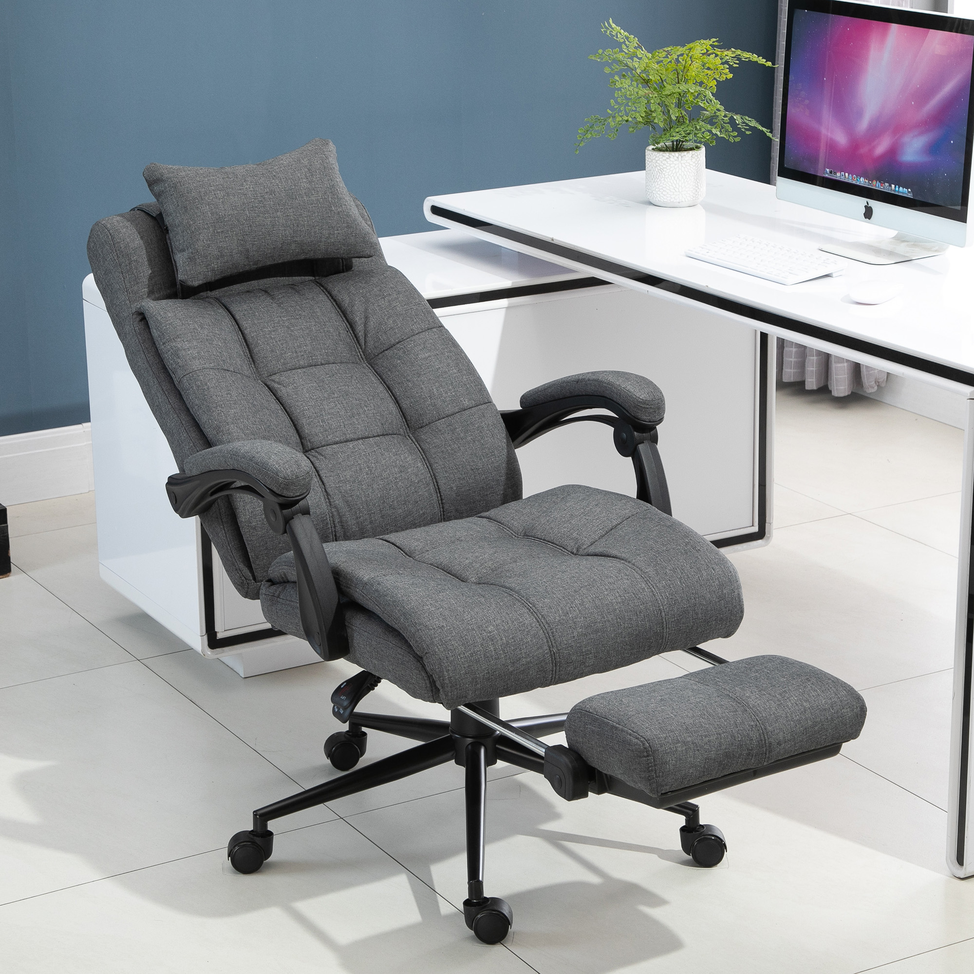 Reclining Office Chair Adjustable Rolling Swivel Chair ...