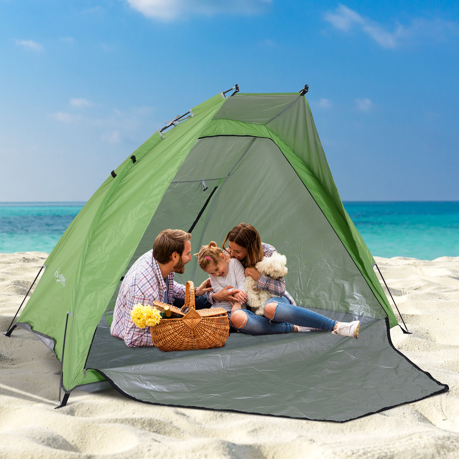 separation shoes 9d89c 45991 Details about Portable Beach Tent Kid Playing Sun Shelter Tent Anti-UV w/  Bag & Door Outdoor