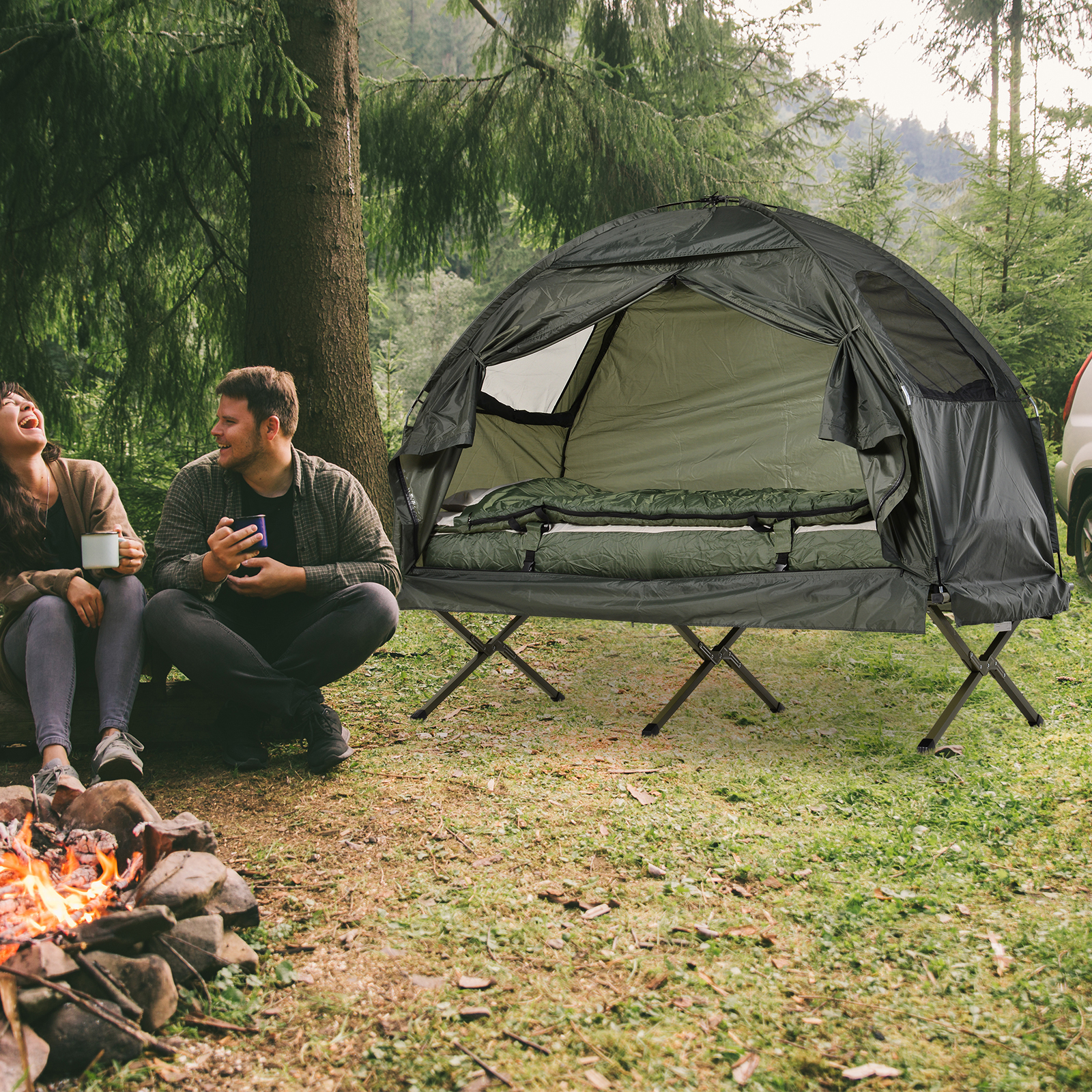 Outdoor 1 Person Folding Tent Elevated Camping Cot W Air Mattress Sleeping Bag 764931589897 Ebay