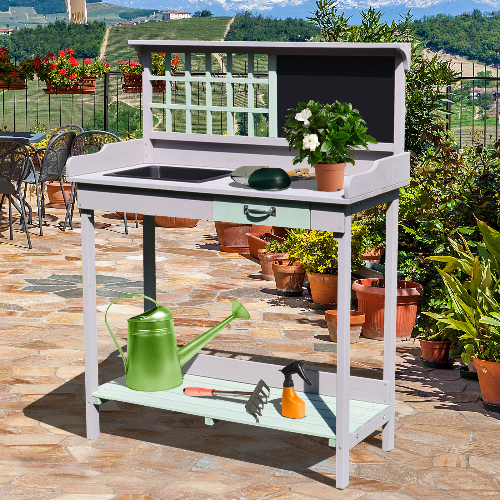 Astounding Details About Painted Wooden Garden Plant Table Potting Bench Workstation With Storage Caraccident5 Cool Chair Designs And Ideas Caraccident5Info