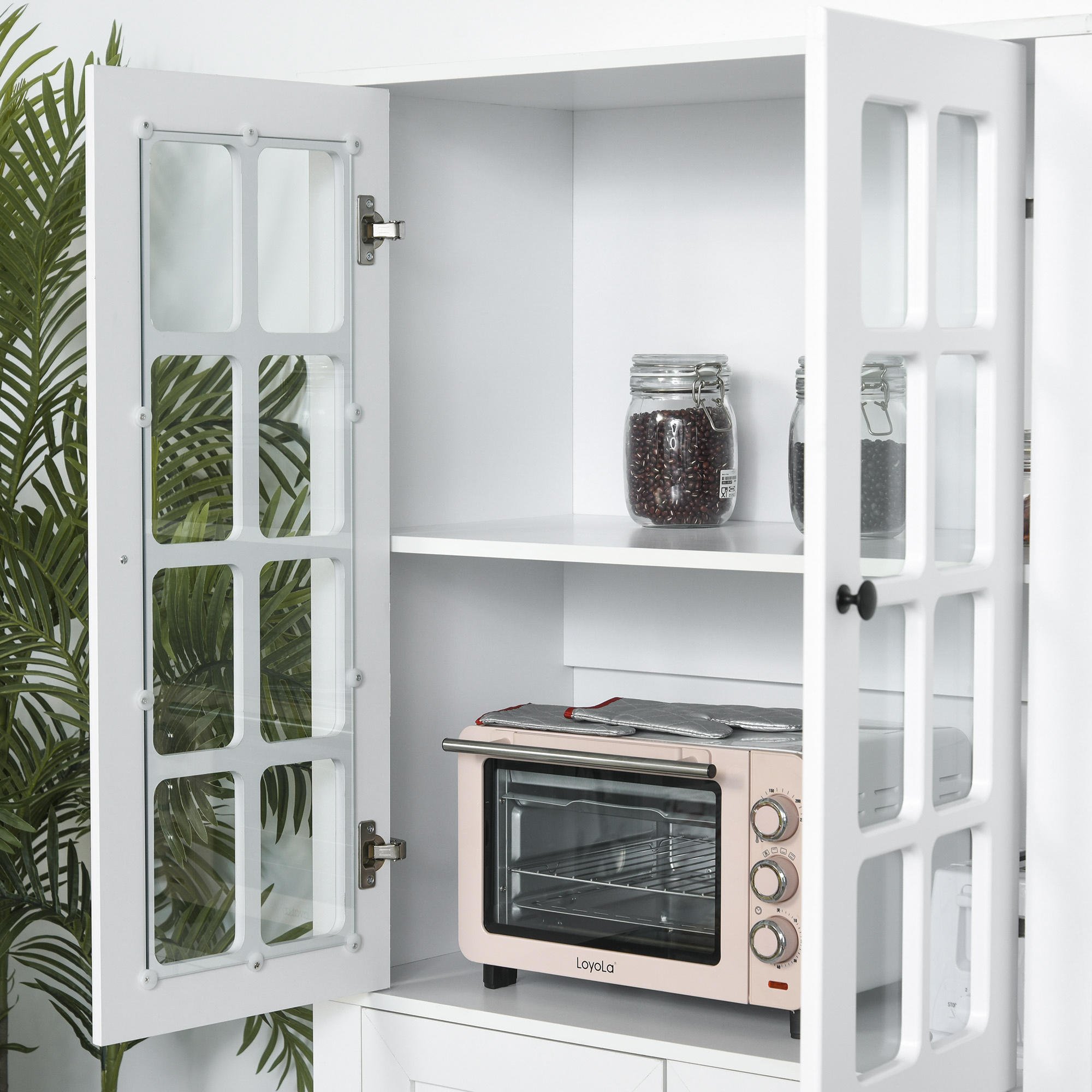 homcom modern kitchen buffet with hutch pantry storage and