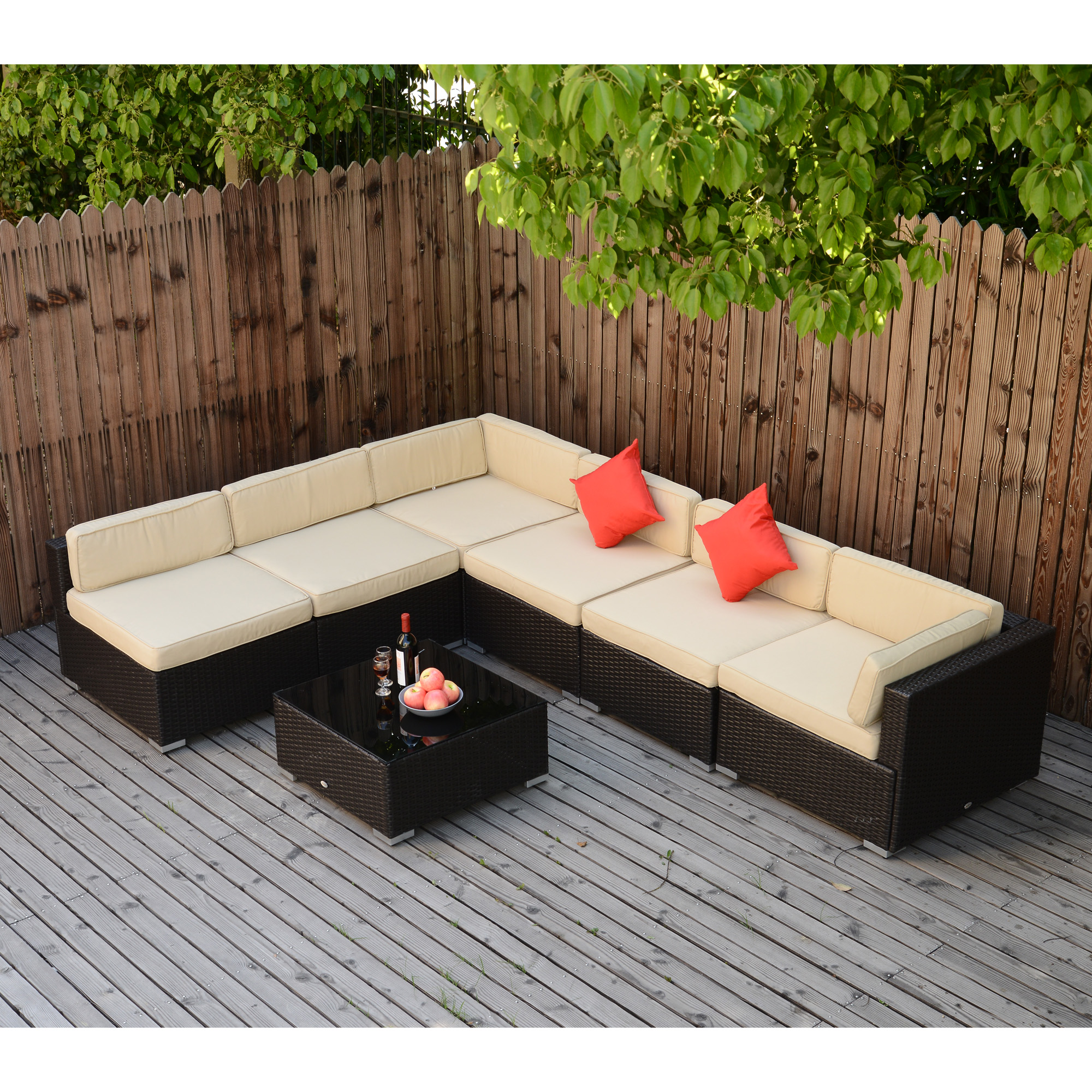 Stupendous Details About 7Pc Wicker Sofa Set Rattan Patio Furniture Table Chairs Cushioned Outdoor Patio Andrewgaddart Wooden Chair Designs For Living Room Andrewgaddartcom