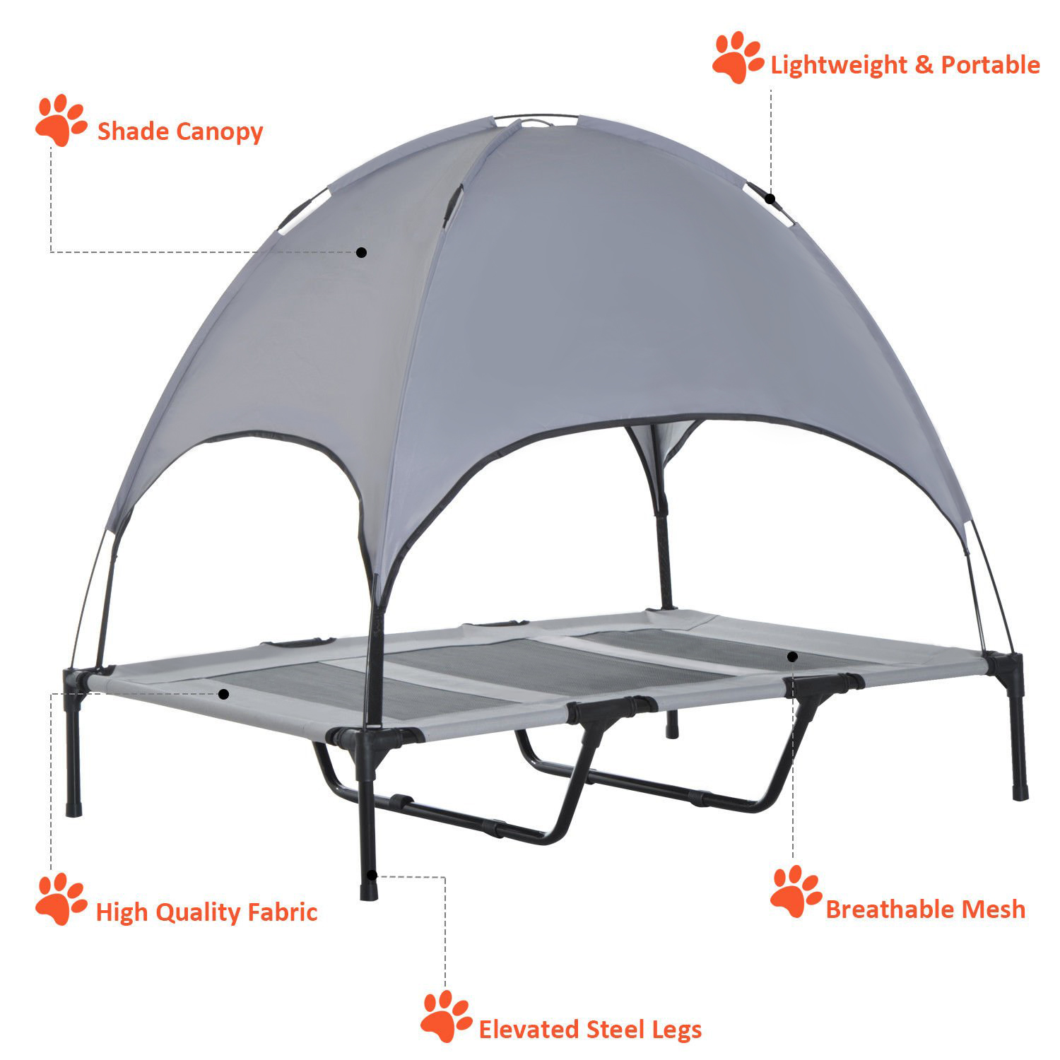PawHut-Elevated-Pet-Bed-Dog-Foldable-Cot-Tent-Canopy-Instant-Shelter-Outdoor thumbnail 21