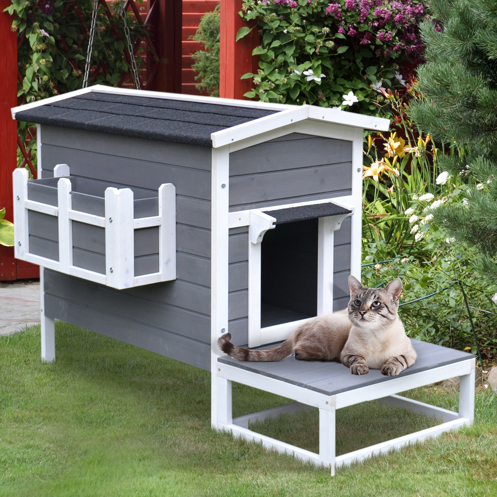 Wood Luxury Raised Outdoor Indoor Dog Cage Cat House With Balcony Grey 842525131209 Ebay