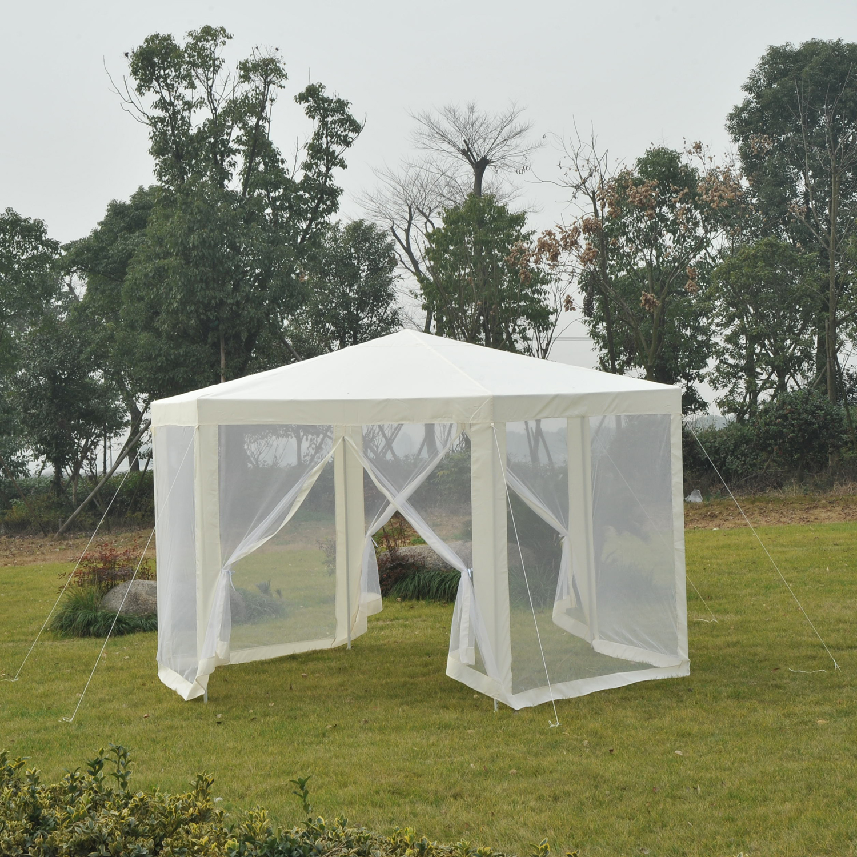 Hexagonal-Patio-Gazebo-Outdoor-Canopy-Party-Tent-Activity-Event-w-Mosquito-Net thumbnail 6