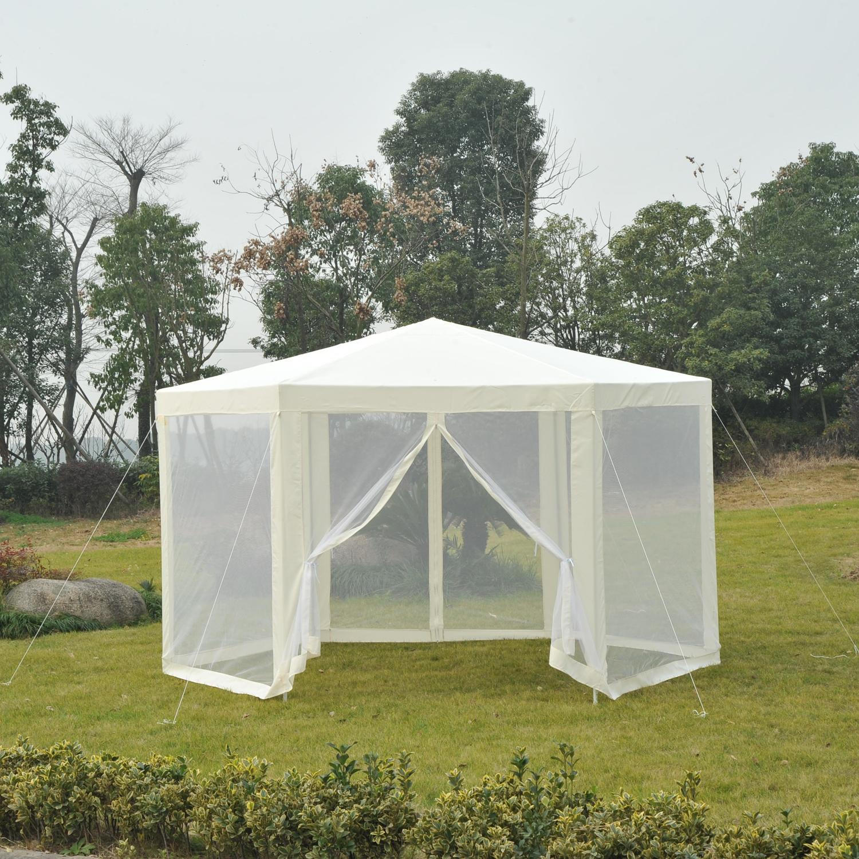 Hexagonal-Patio-Gazebo-Outdoor-Canopy-Party-Tent-Activity-Event-w-Mosquito-Net thumbnail 7