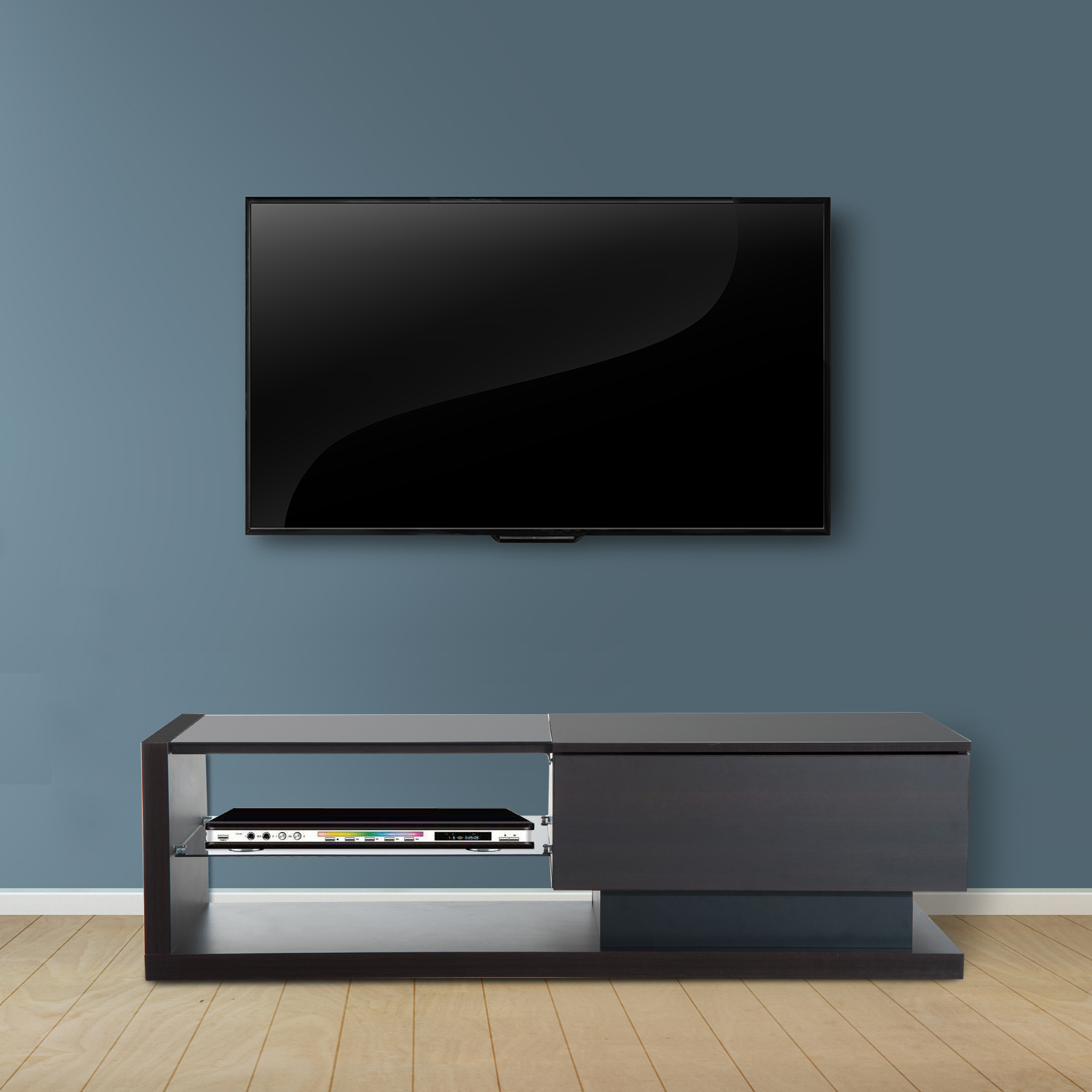 Details About Wood Wall Mount Floating Media Center Tv Stand Shelf Media Console Dvd Storage