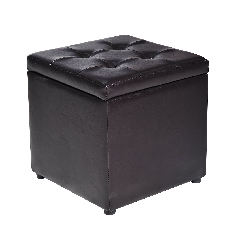 Faux Leather Storage Footrest Ottoman Cube Removable Lid