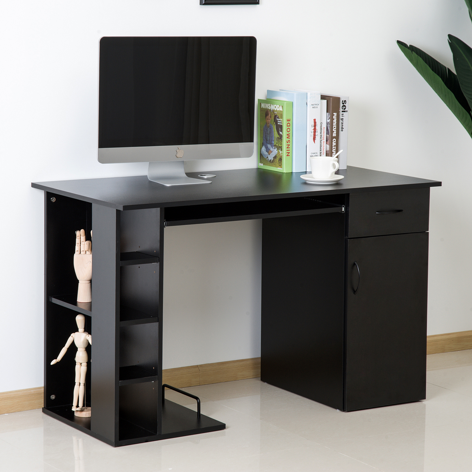 Home Office Computer Desk Study PC Table w/ Storage ...