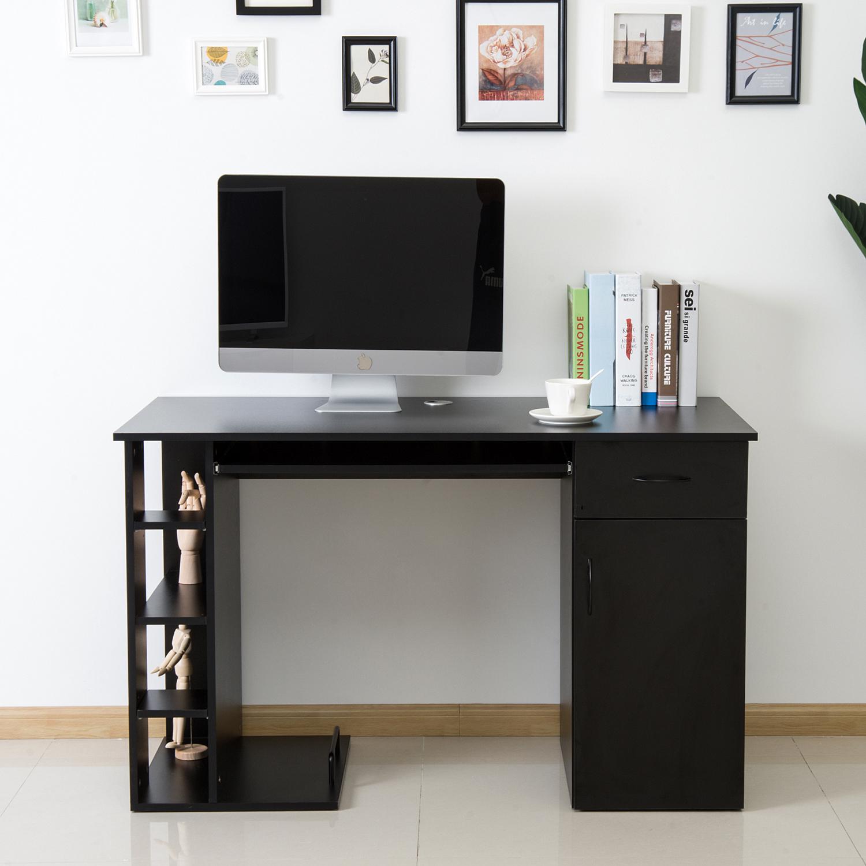 Details about homcom computer desk pc table workstation printer home office furniture black