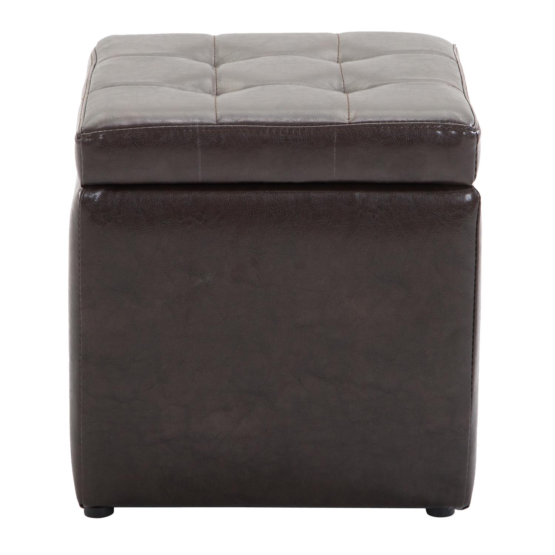 faux leather storage footrest ottoman cube removable lid upholstered lounge seat ebay. Black Bedroom Furniture Sets. Home Design Ideas