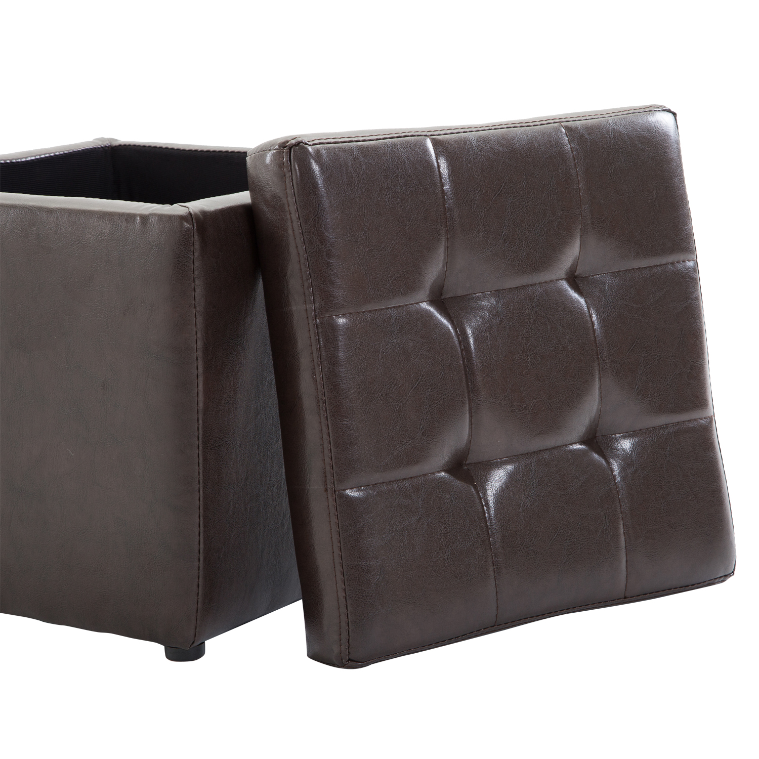 Faux Leather Storage Footrest Ottoman Cube Removable Lid